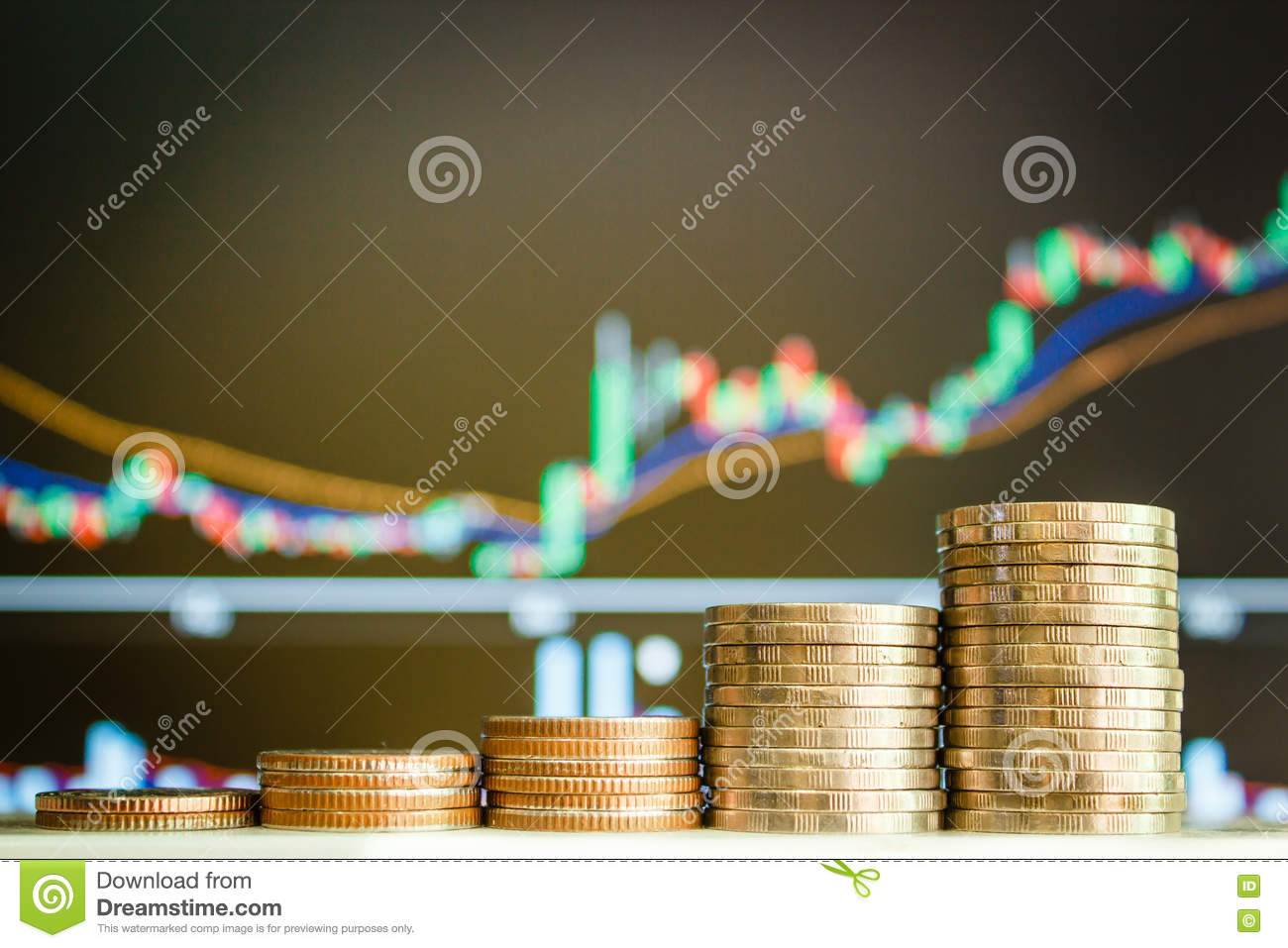 Money coins and Stock market.
