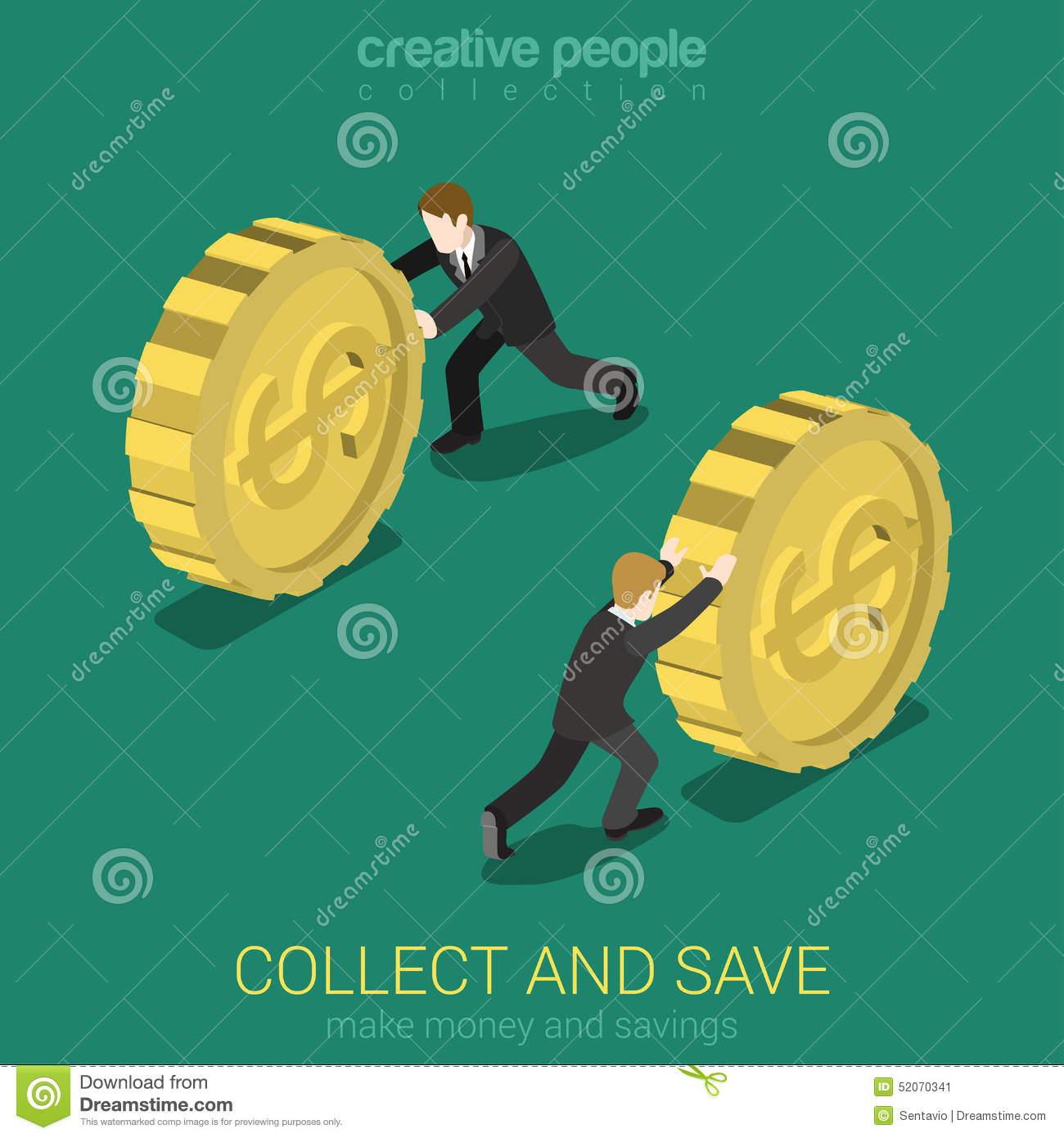 Money collect and save flat 3d web isometric infographic Collect and save