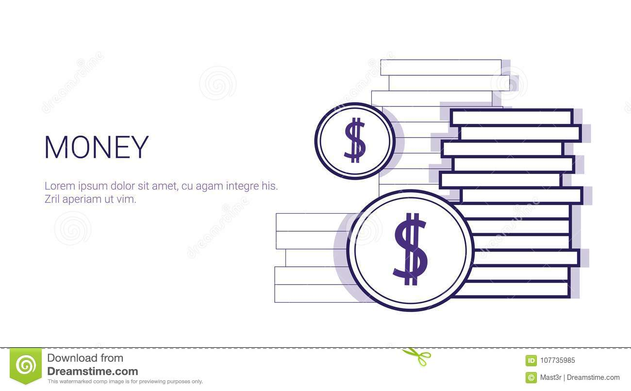 Money Concept Stack Of Coins With Dollar Sign Template Web Banner ...