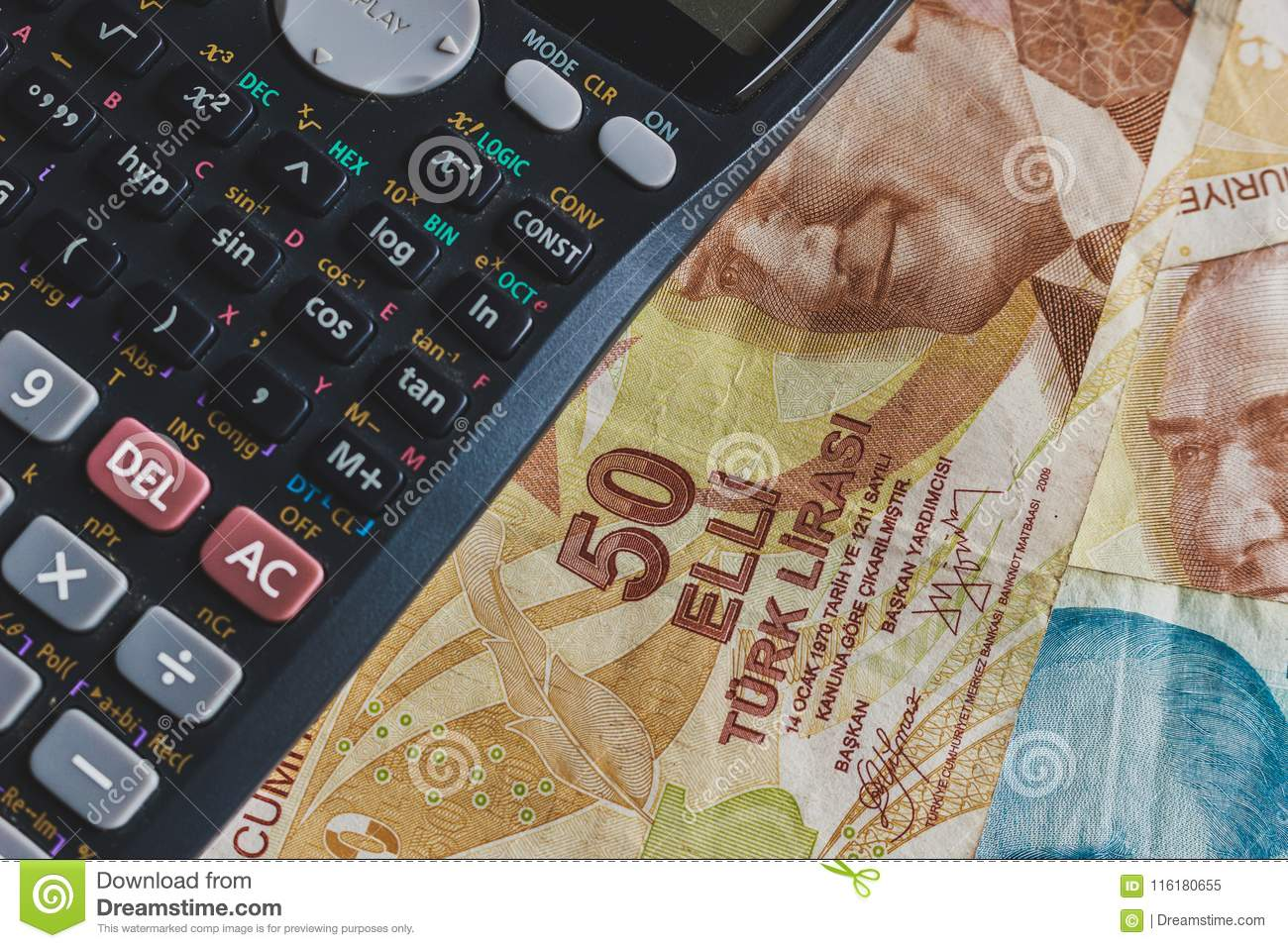 Money Concept  Turkish Coins And Calculator On A Table