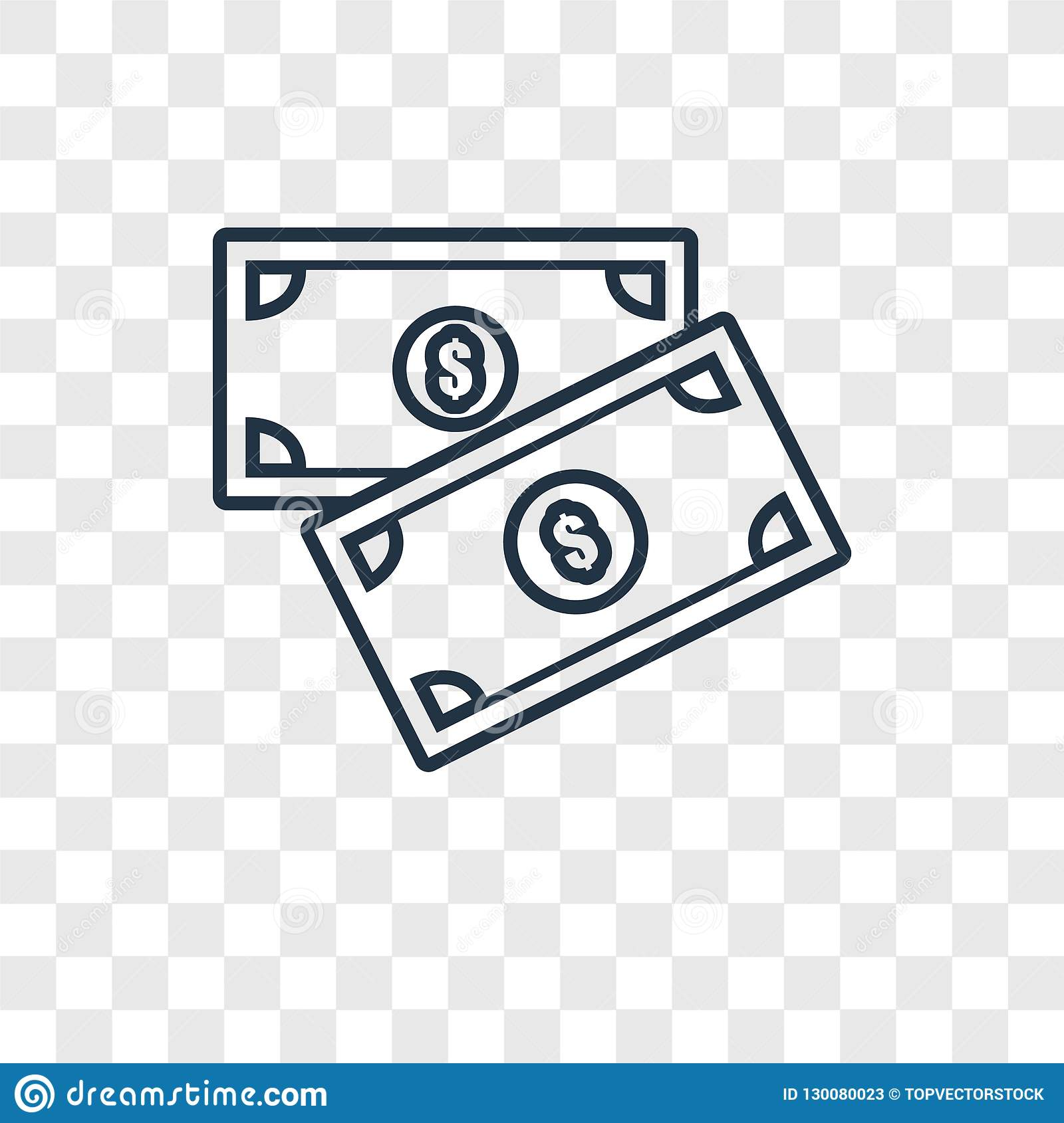 Money concept vector linear icon isolated on transparent background, Money concept transparency logo in outline style