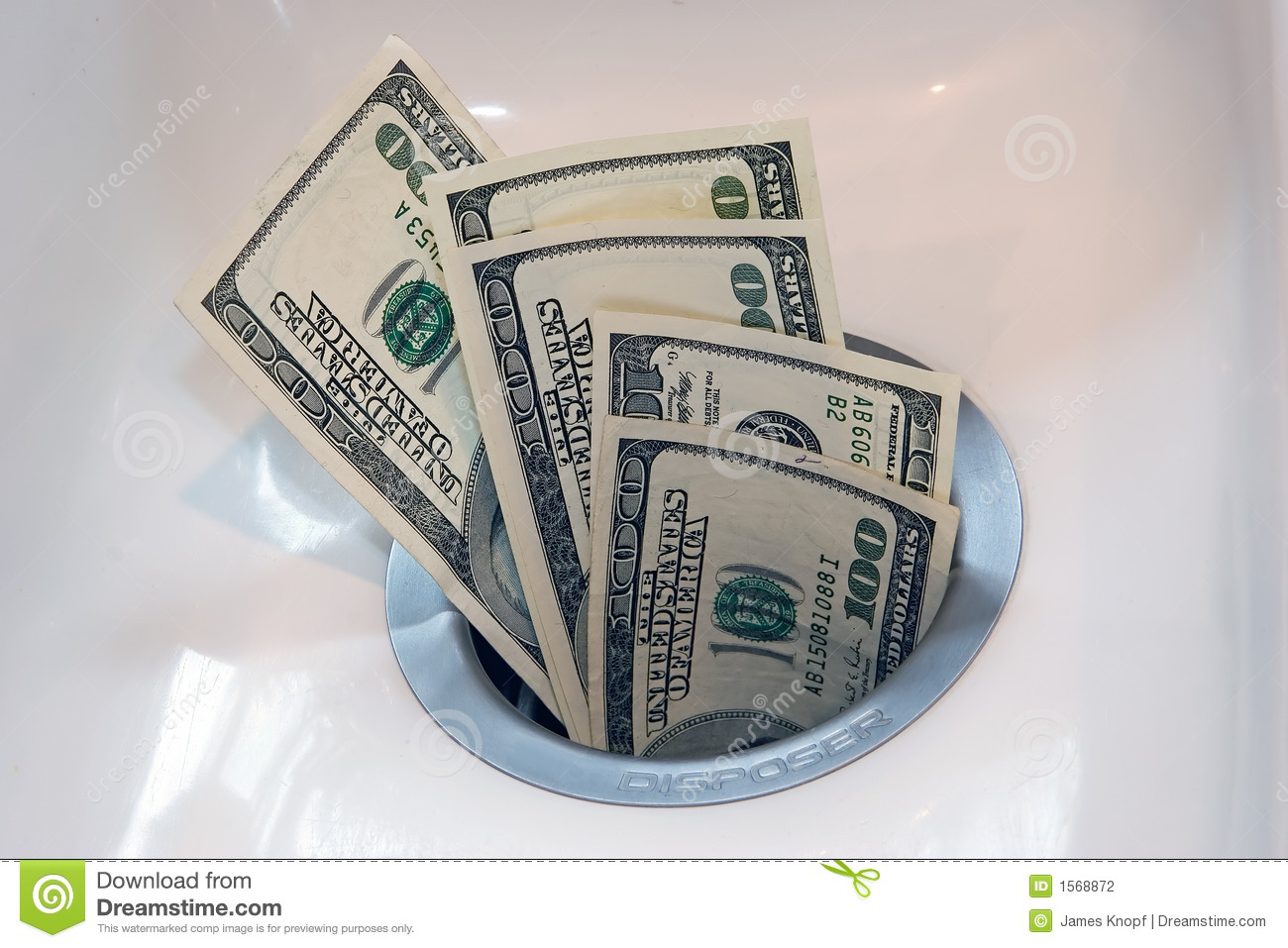 Money Down The Drain Stock Photo Image Of Disposal