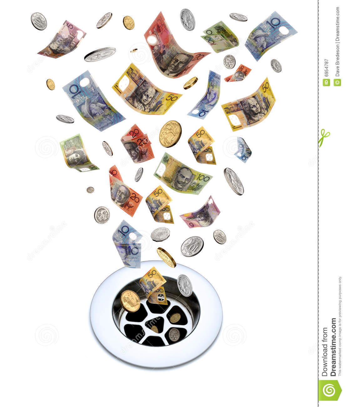 Download Money Down The Drain stock image. Image of coins, dollar - 6954787