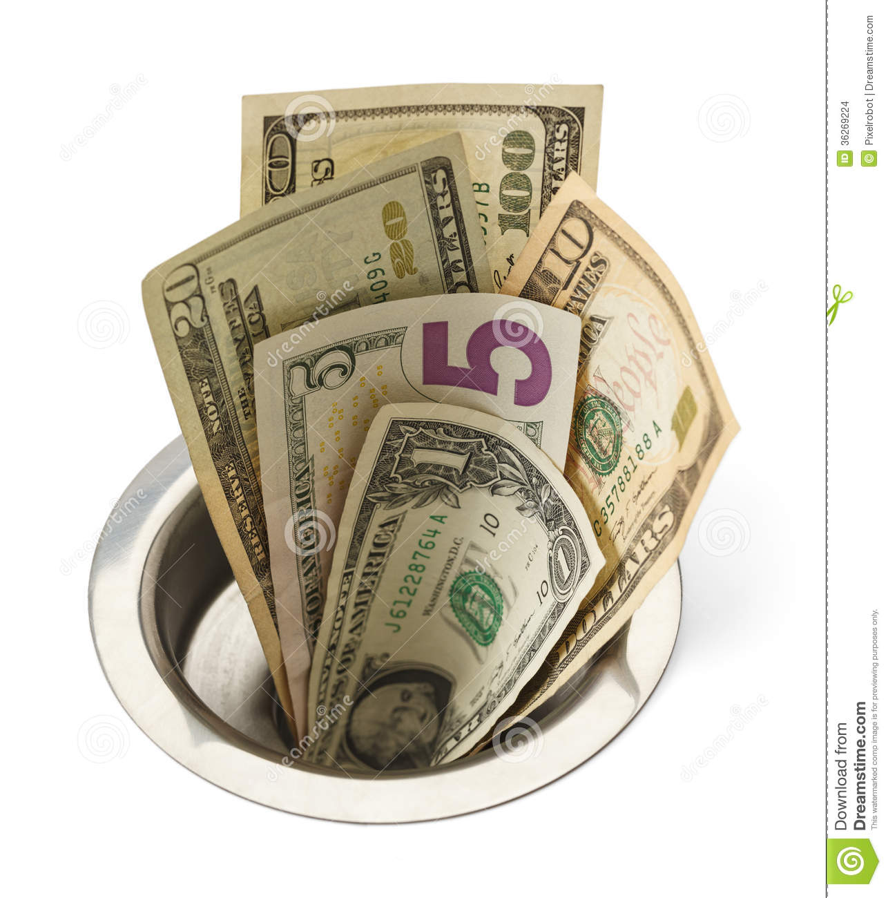 Money Down Drain Stock Photo Image Of Debt Hole