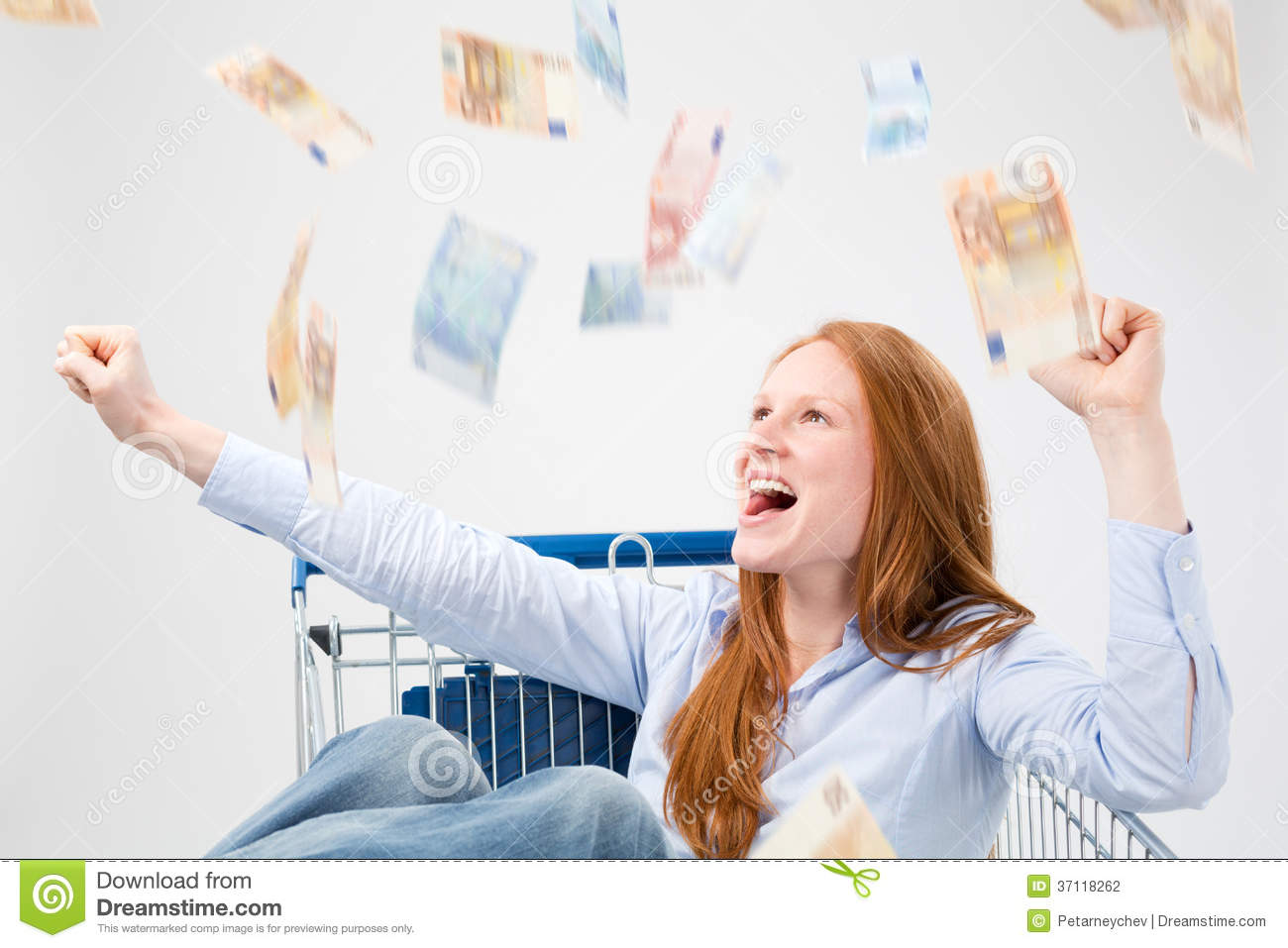 Money Falling Over a Happy Woman