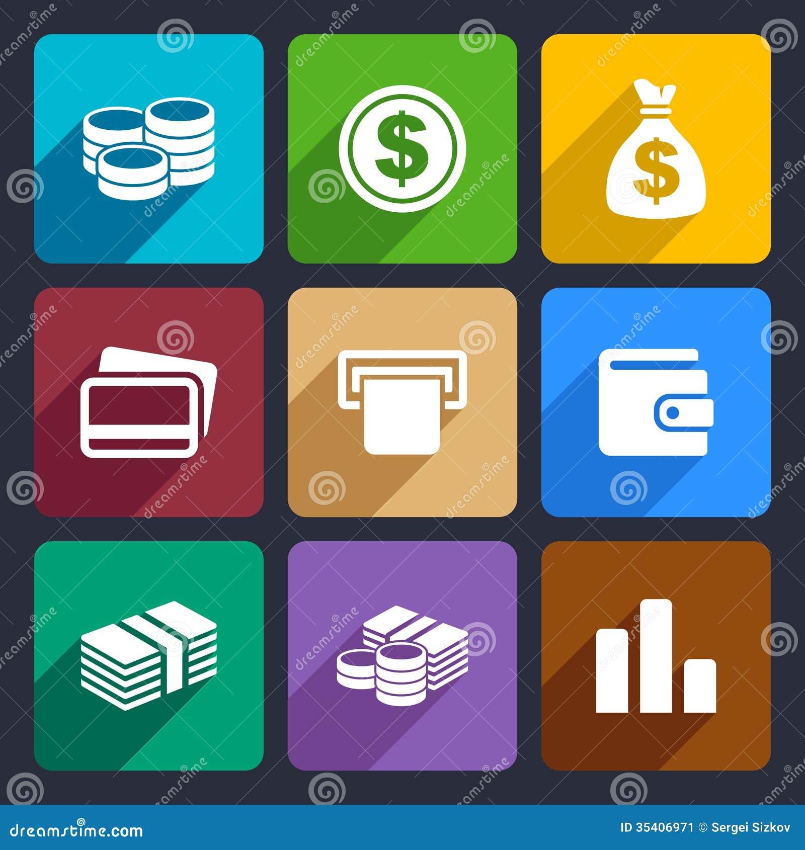 Money flat icon set 14
