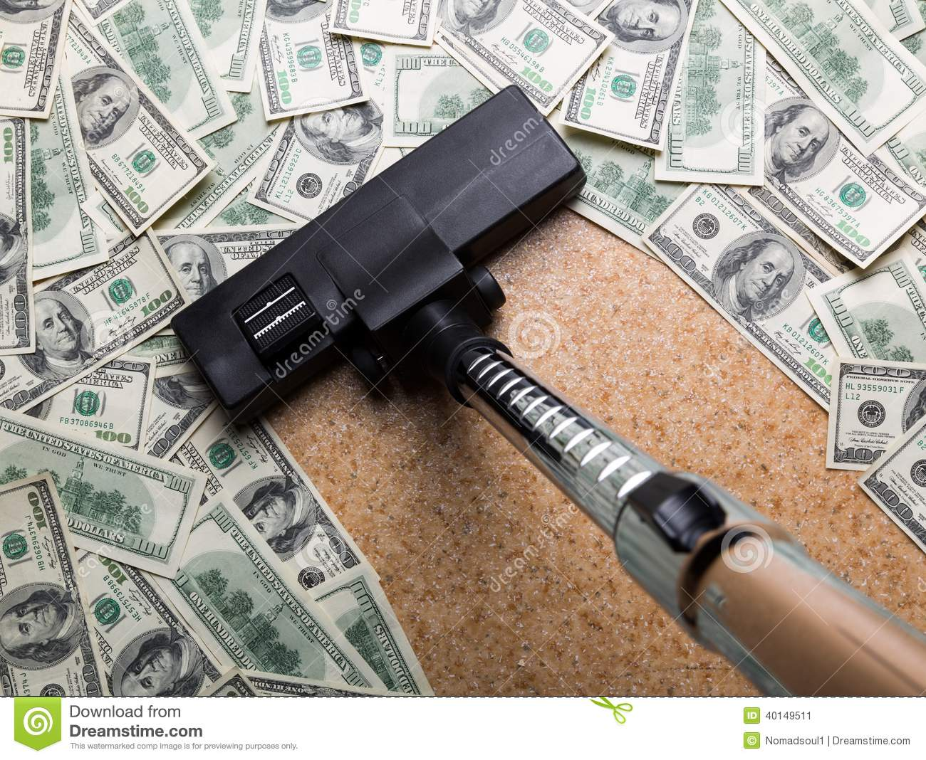 Money On The Floor Vacuuming With Vacuum Cleaner Stock Photo   Image