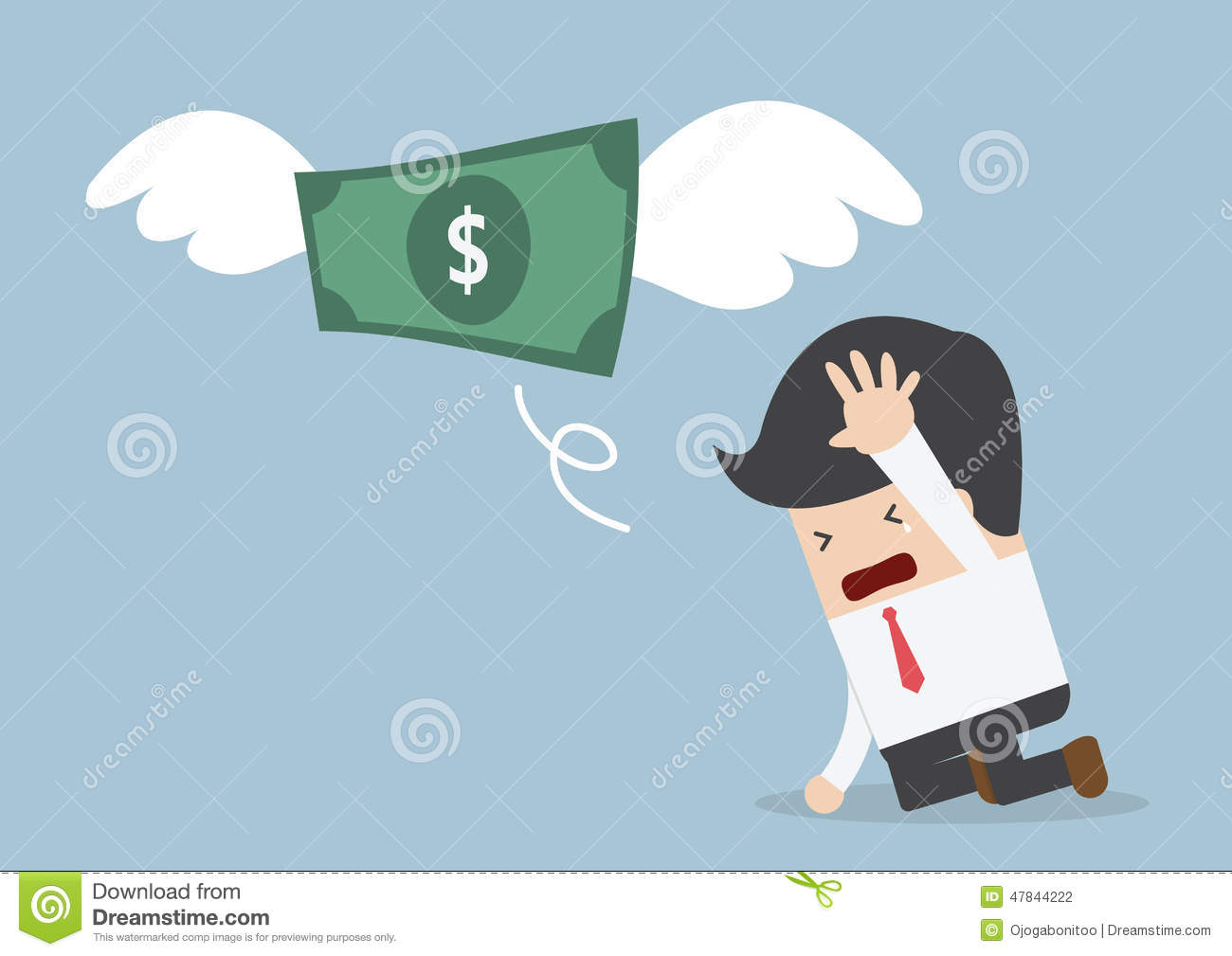 Money Is Flying Away From Sadness Businessman Stock Vector - Image ...