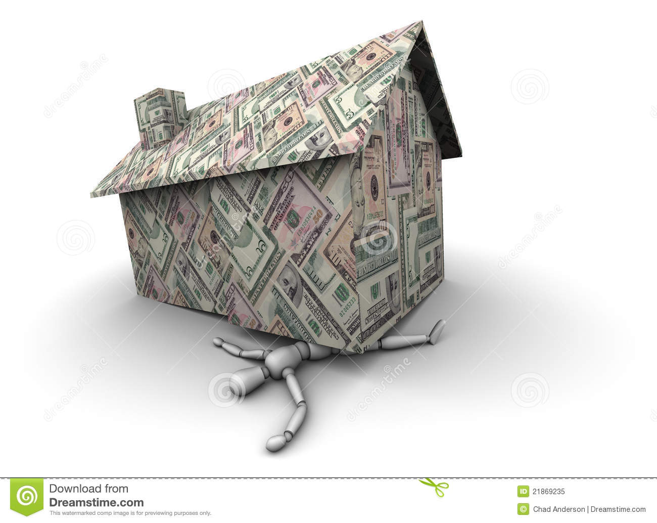 Money house crushing man royalty free stock photo image for Free money to build a house
