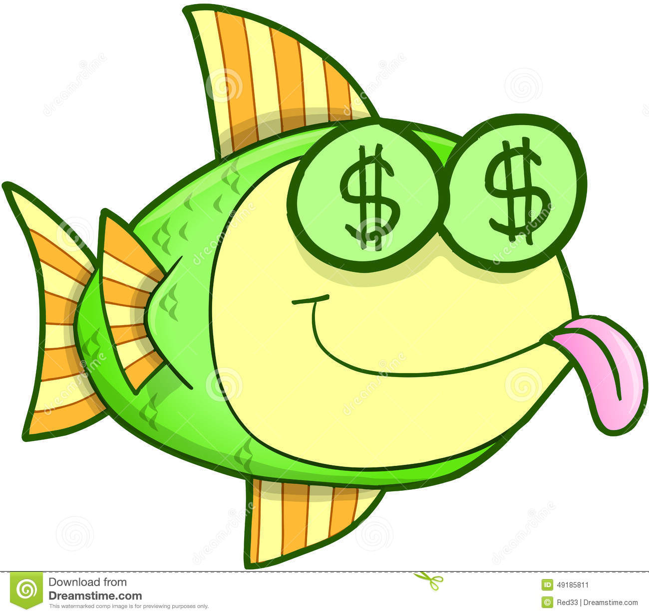 Money hungry fish vector stock illustration image 49185811 for Fish for cash