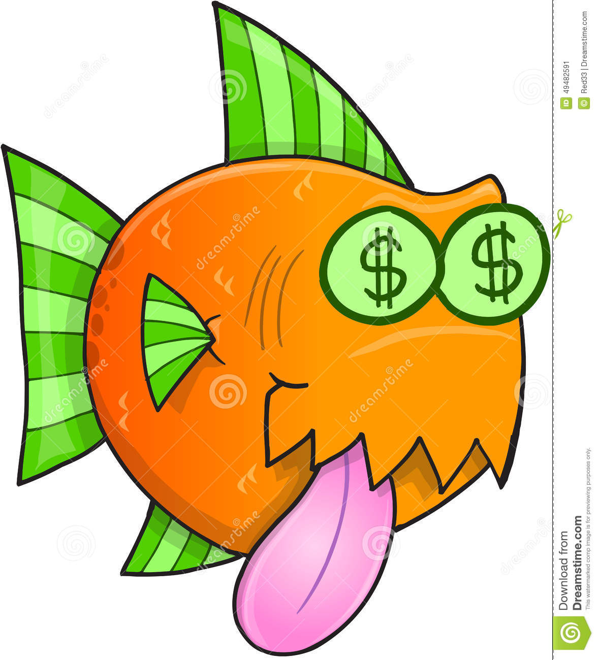 Money hungry fish vector stock vector image 49482591 for Fish for cash
