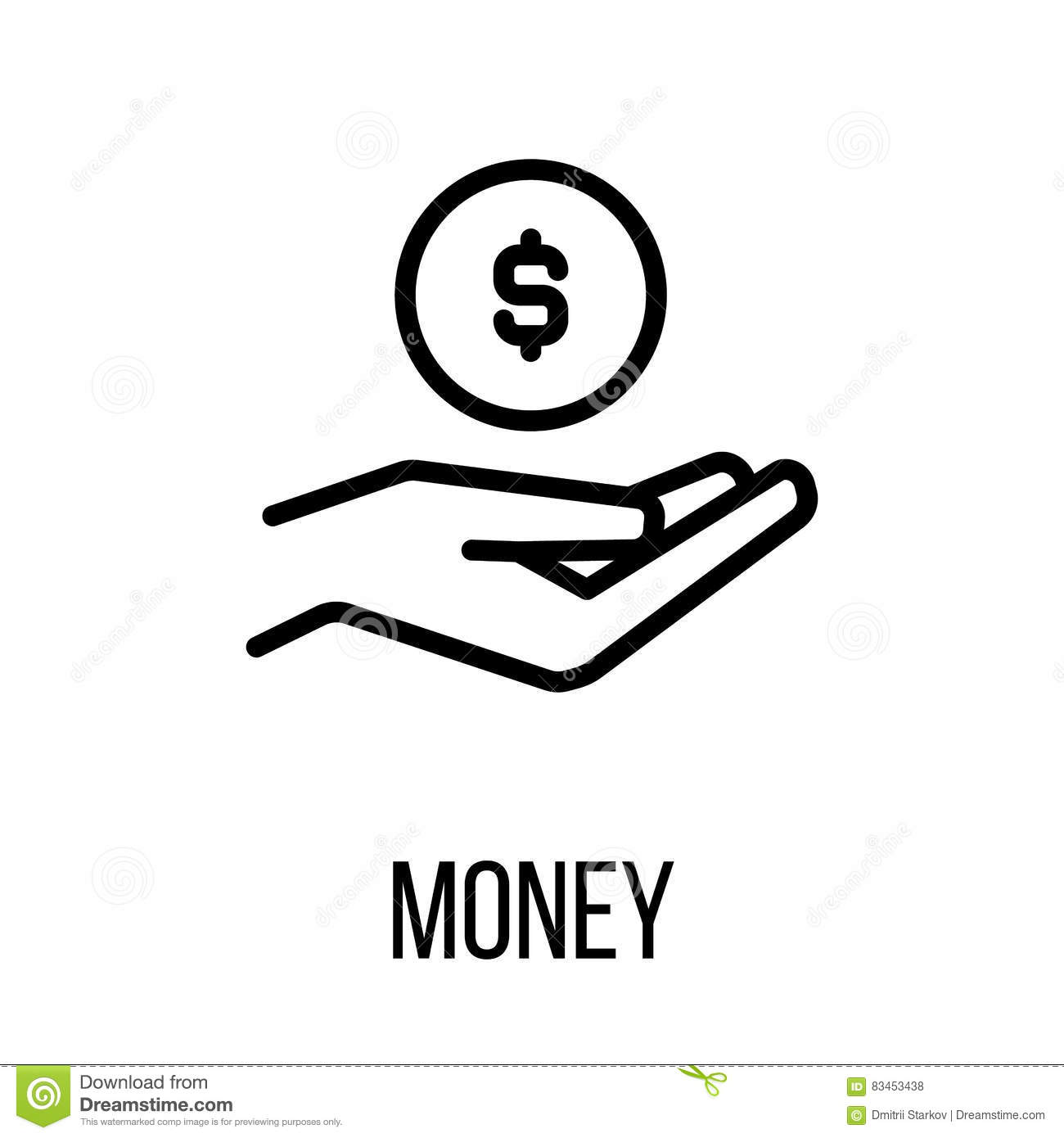 Vector Drawing Lines App : Money icon or logo in modern line style stock vector