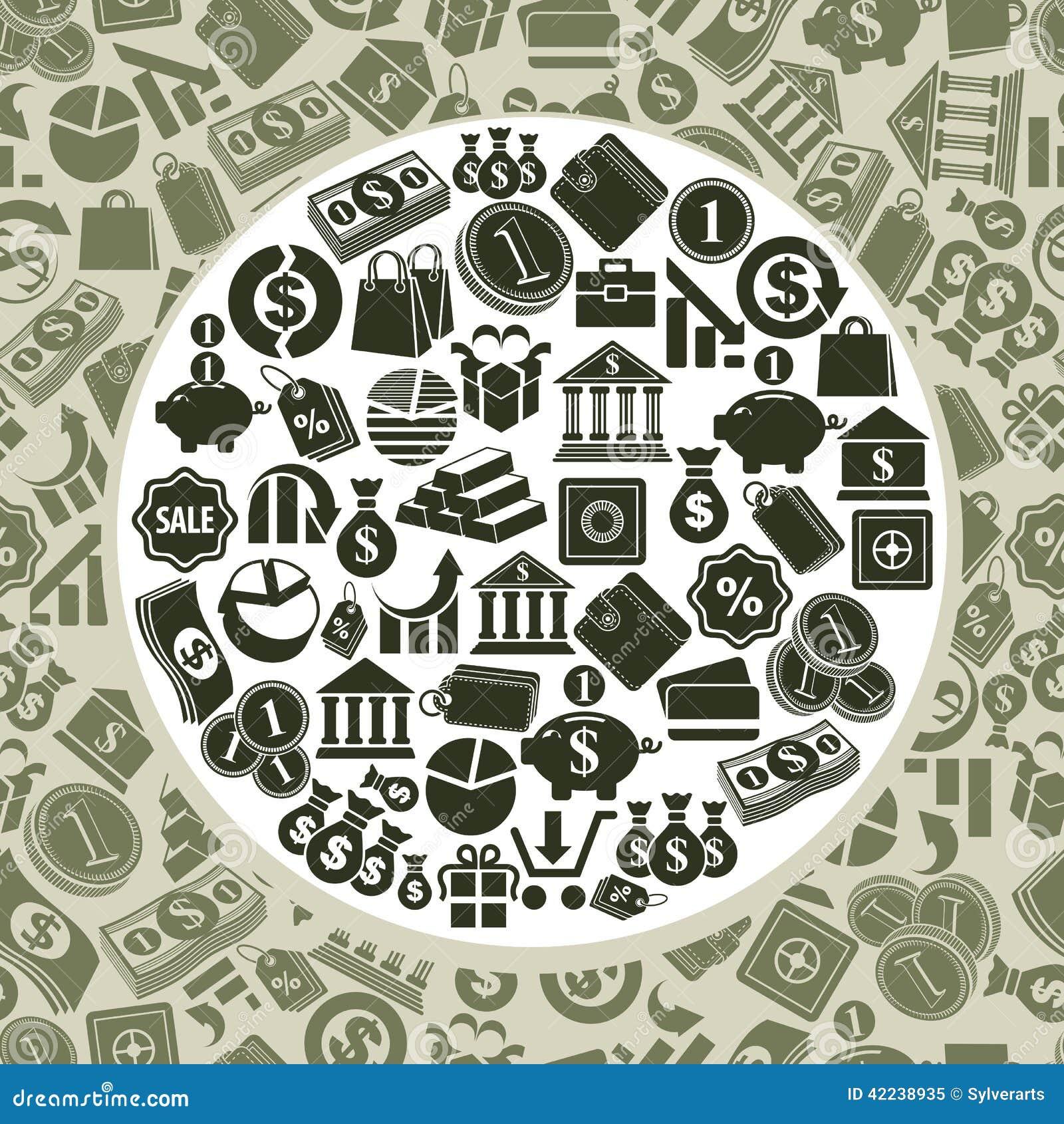Finance Background: Money Icons Vector Set, Finance Theme Simplistic Symbols