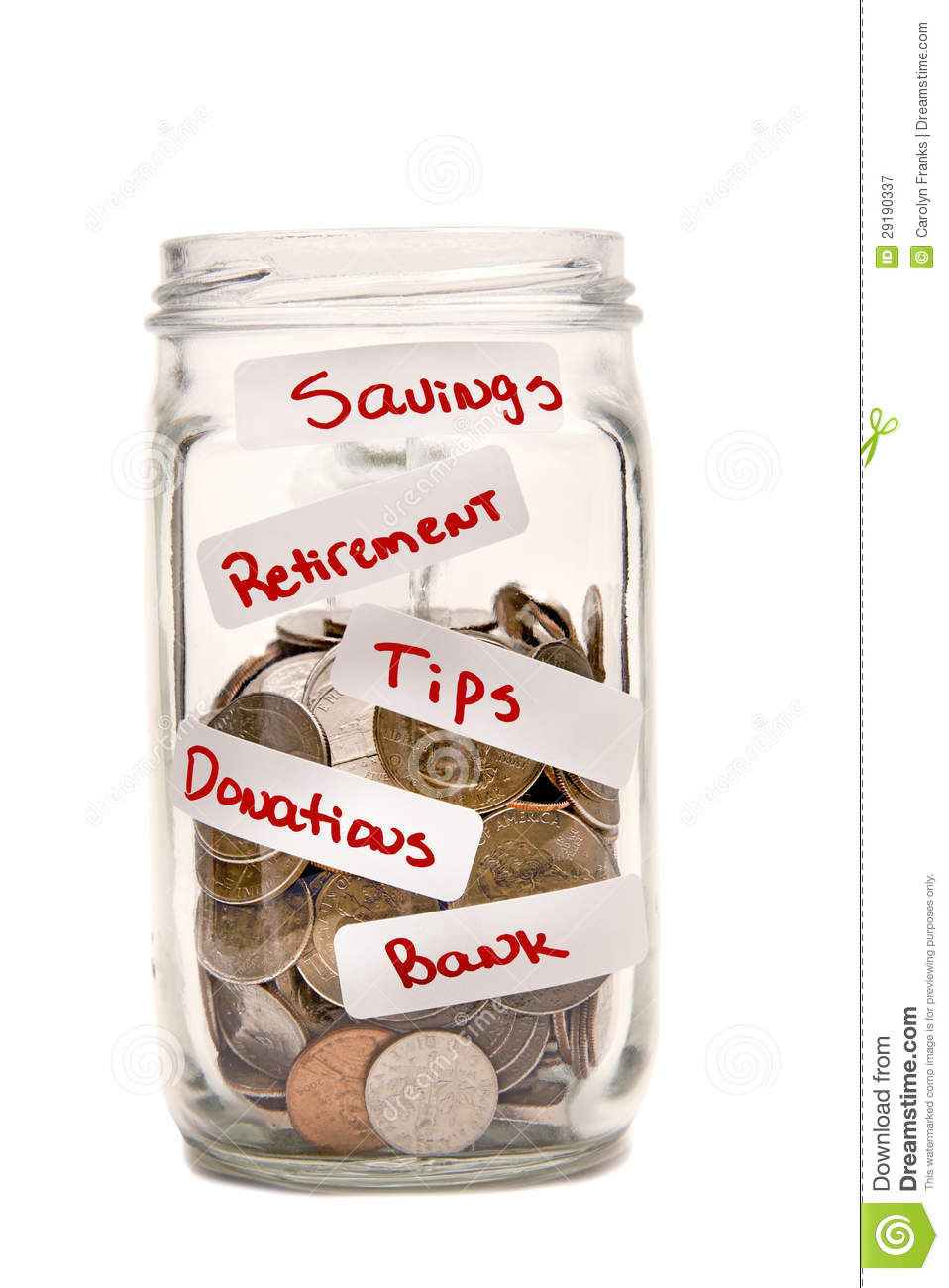 Glass Jar With Coins And Labels Stock Image - Image of