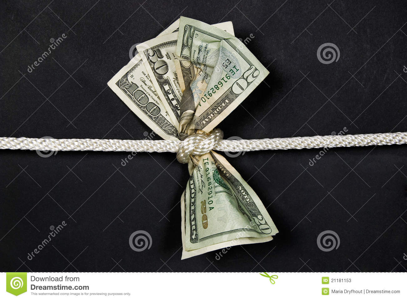 paper money tied in knot