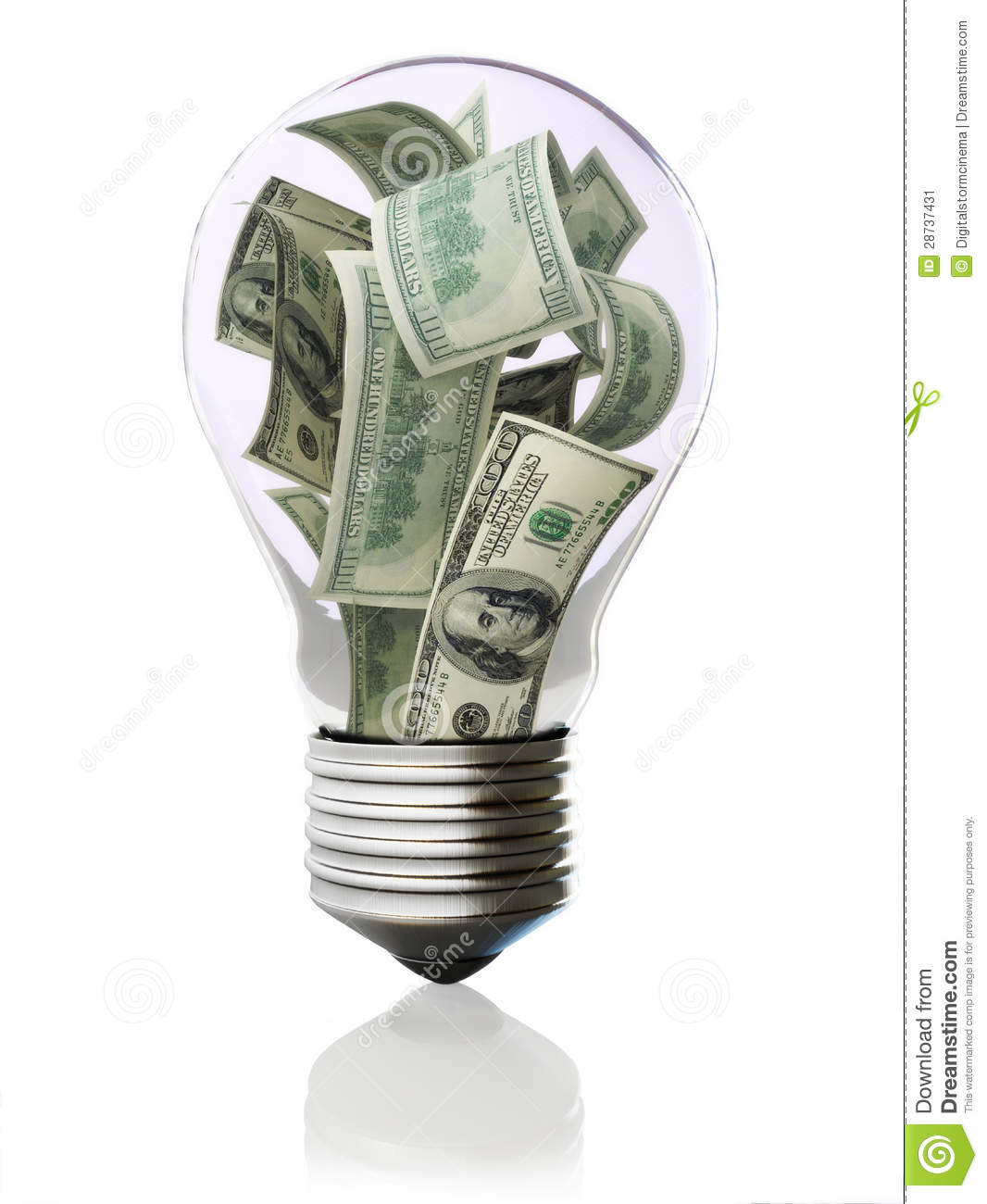 Money In Light Bulb Concept Stock Image - Image: 28737431