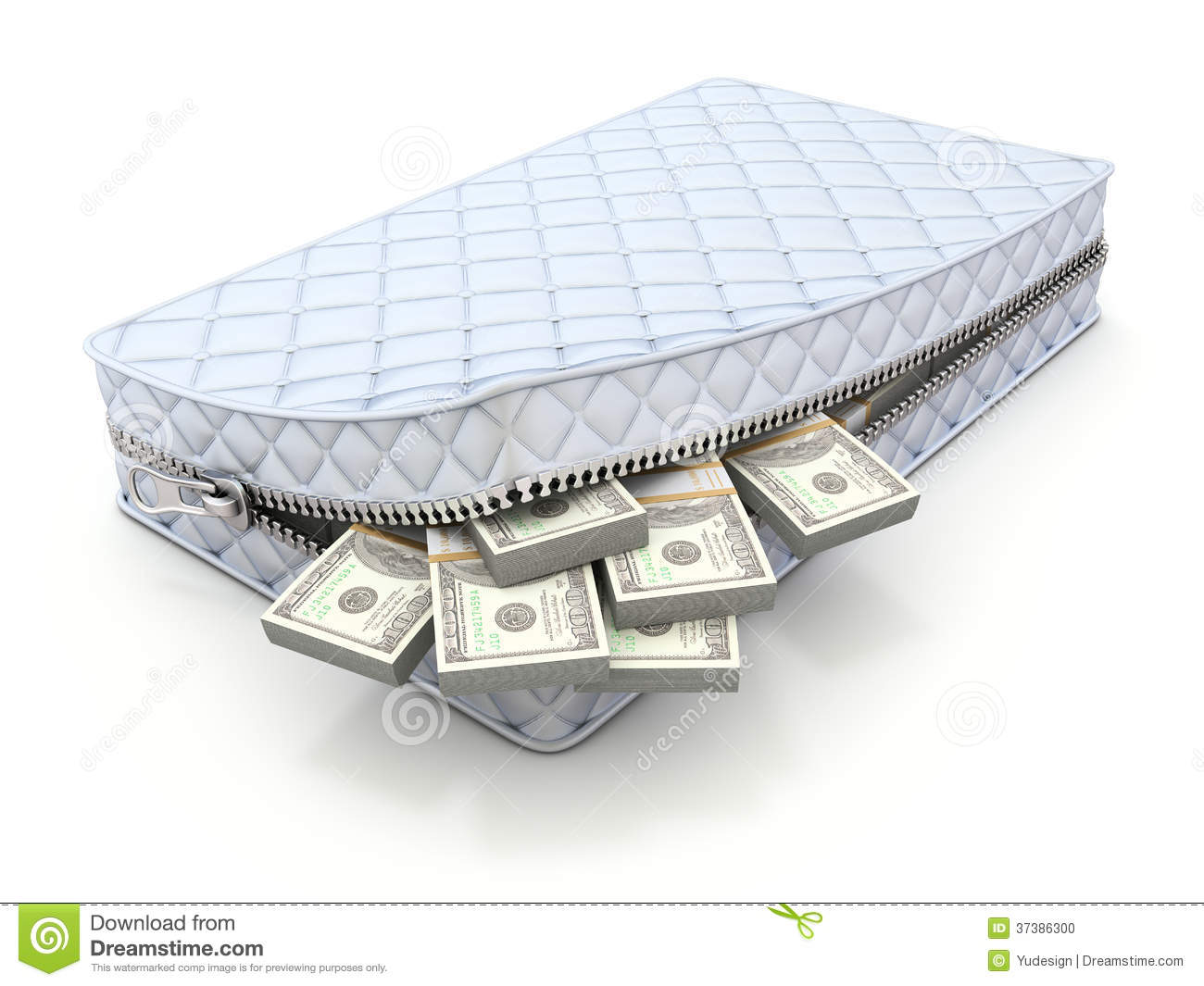Money In The Mattress 3D Savings Concept Stock