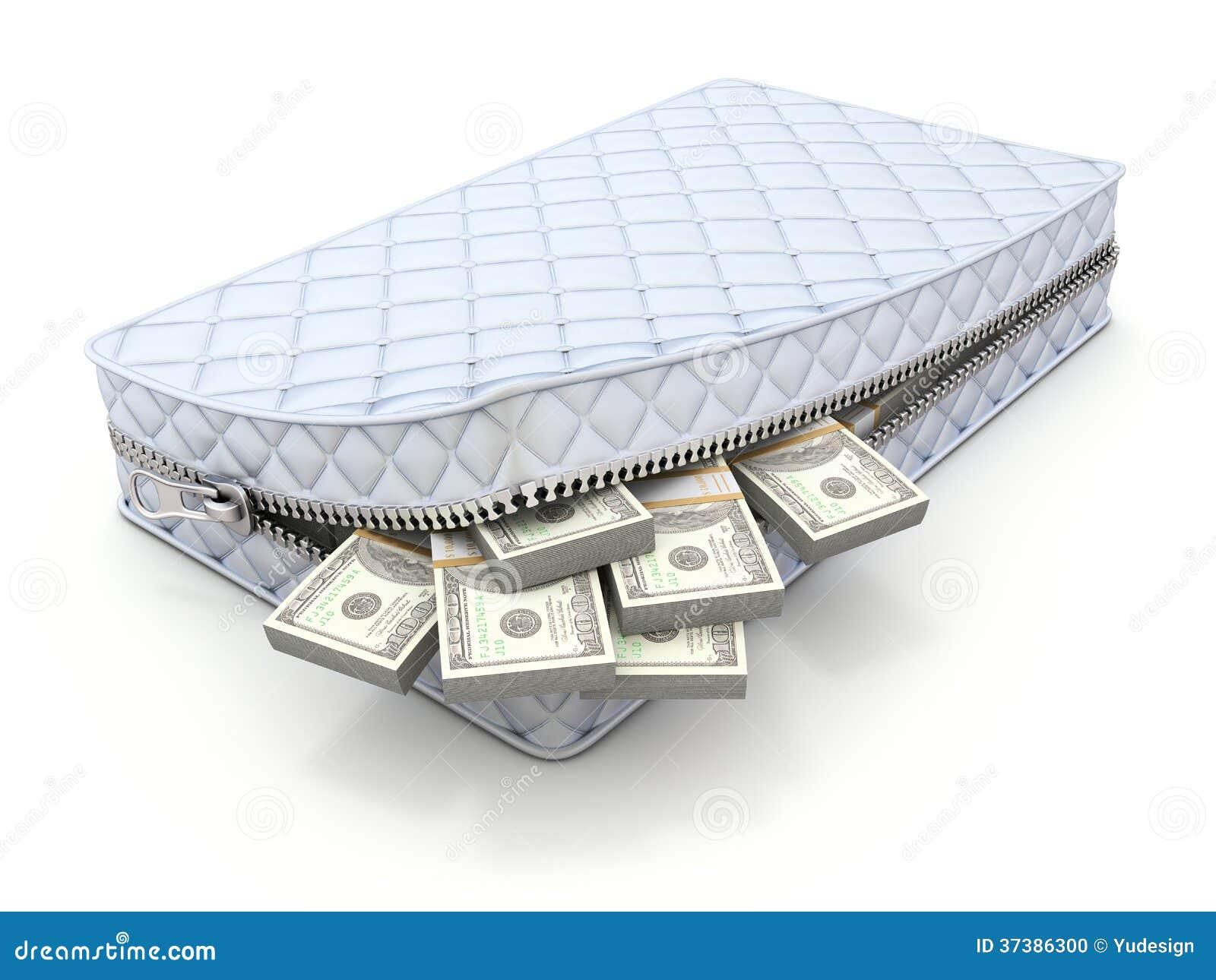 Money in the mattress 3d savings concept stock photo - Colchon de futon ...
