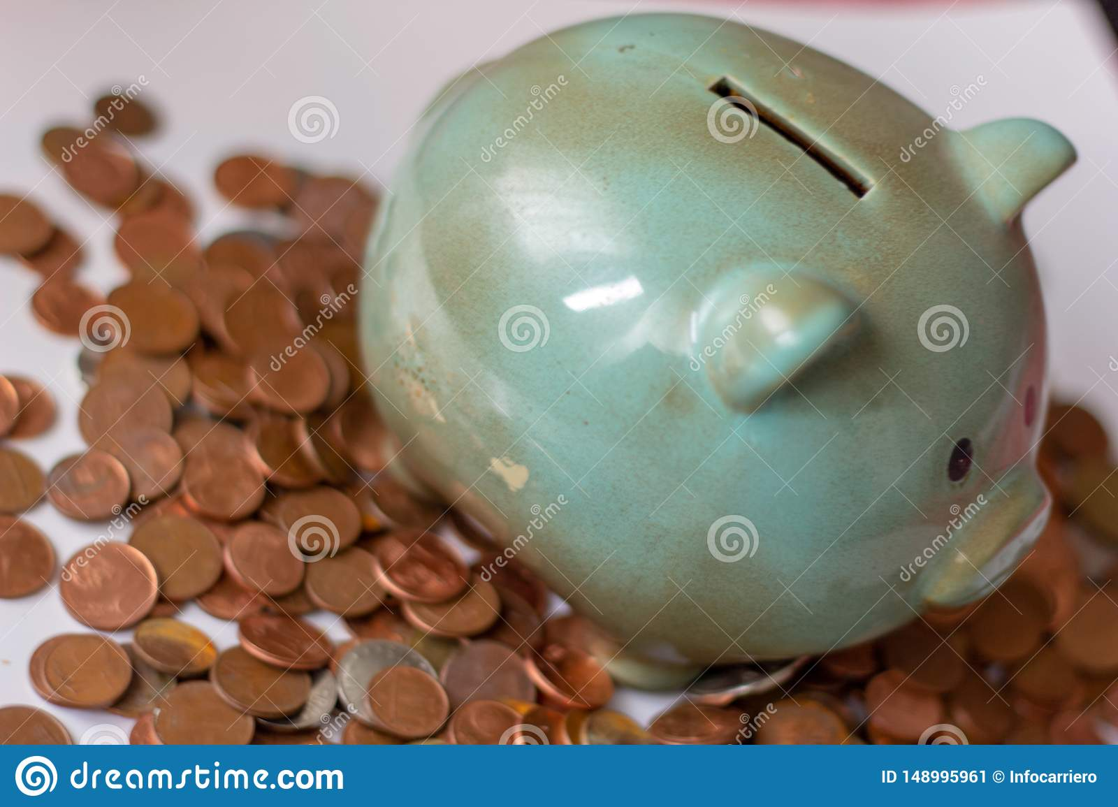 Money, money or cents up to big capitals. money runs the business. a piggy bank, with small coins ... how will it be when the mone