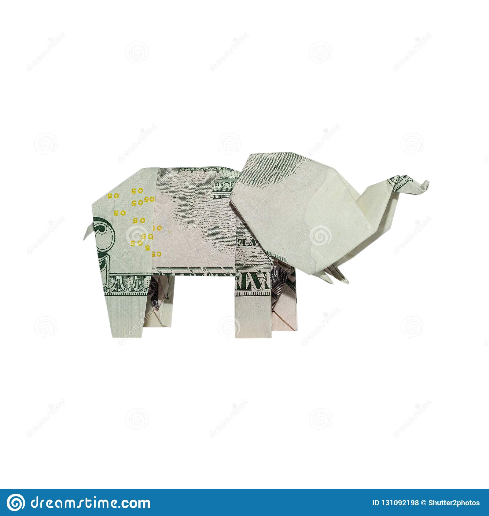 Money Origami ELEPHANT Right Side Folded with Real FIVE Dollar Bill
