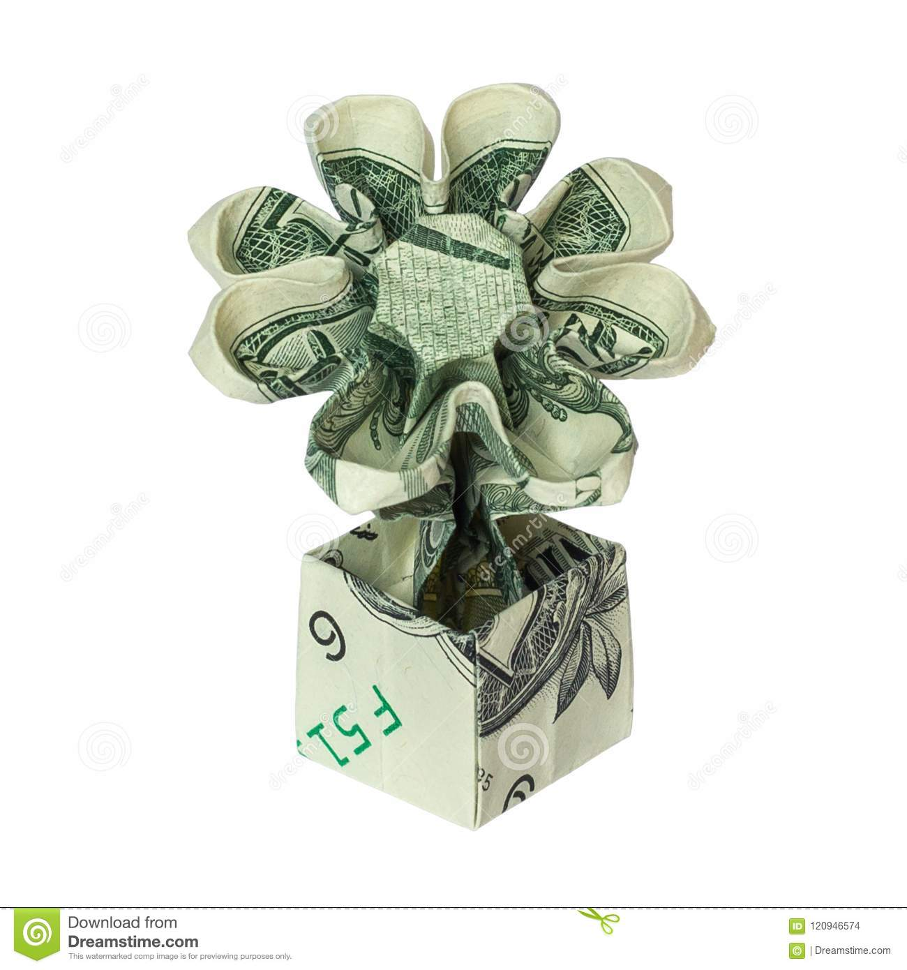 Money origami flower in pot folded with real one dollar bill stock download comp mightylinksfo