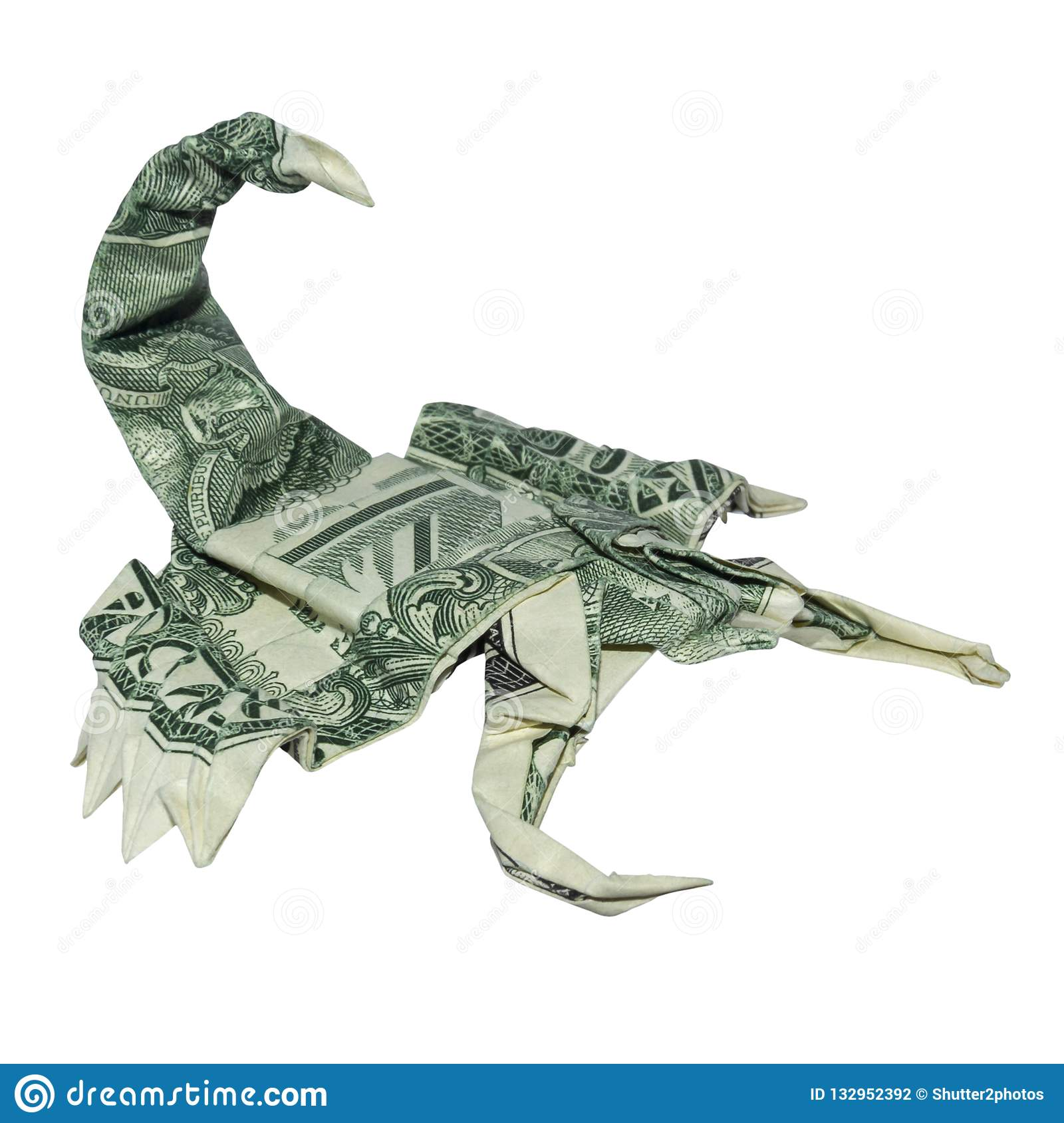 Money Origami Green SCORPION Folded with Real One Dollar Bill Scorpio Zodiac Sign Isolated White Background