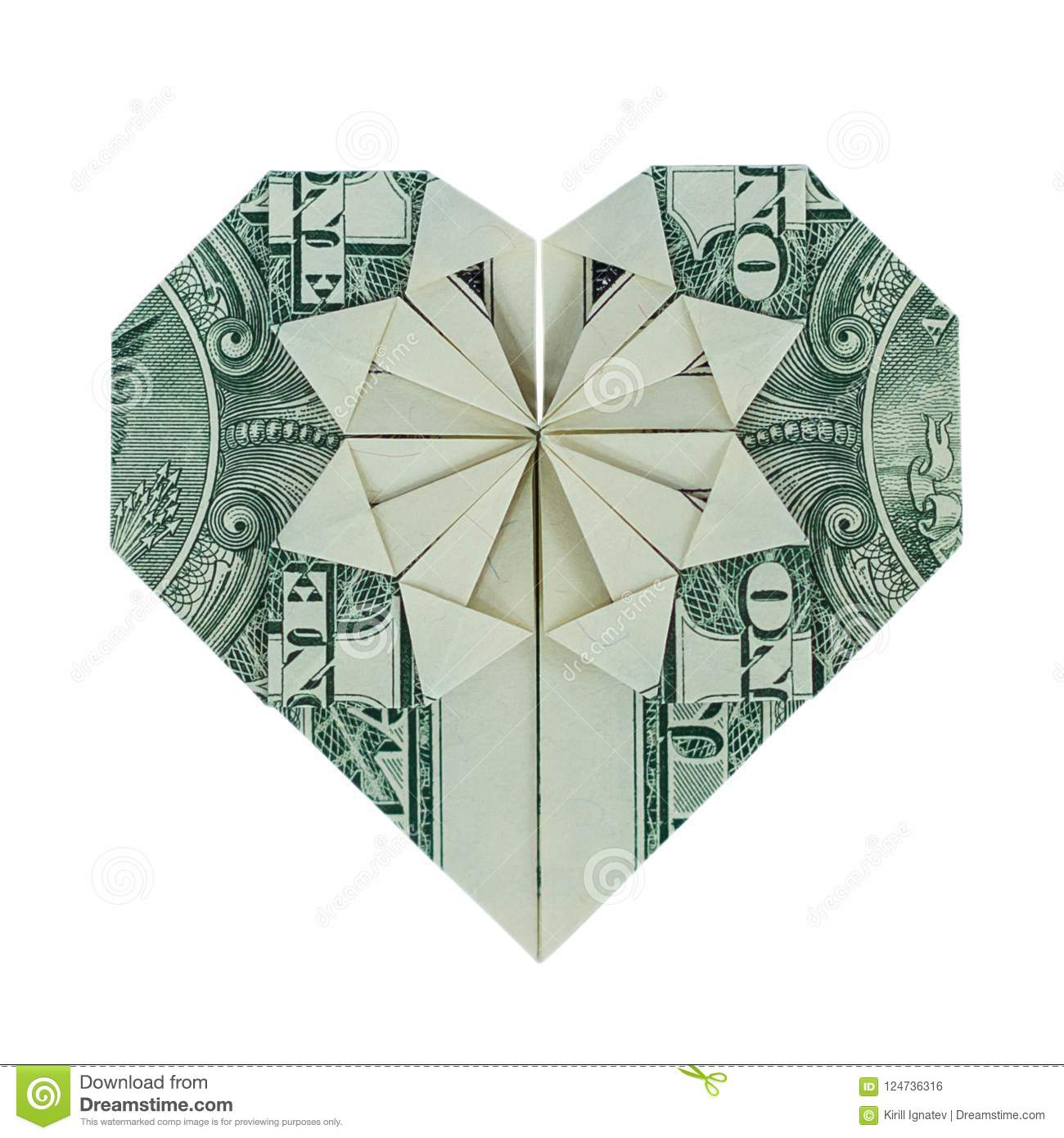 Money Origami Heart Real One Dollar Bill Isolated On White Stock