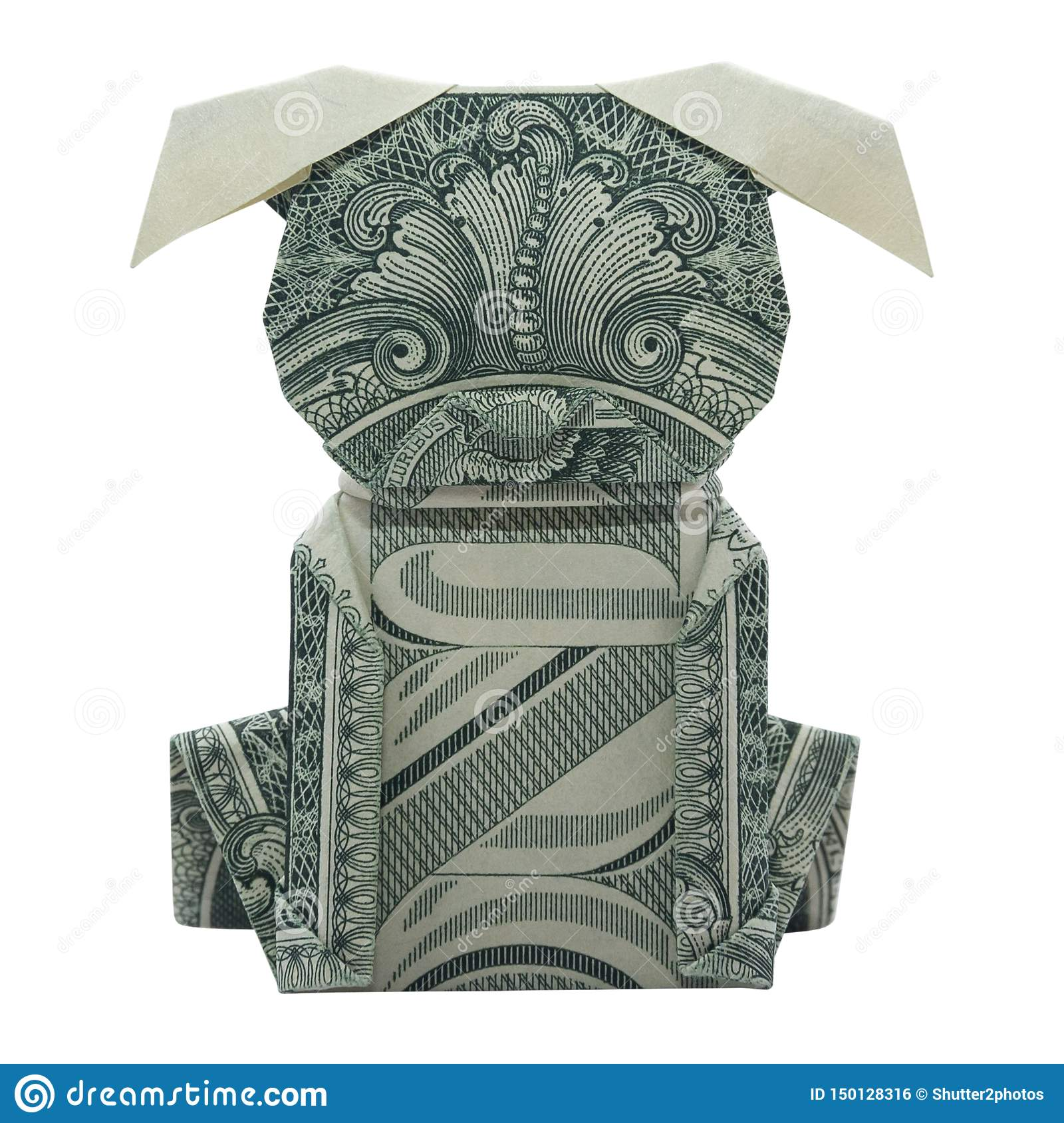 Money Origami Puppy Dog Folded with Real One Dollar Bill Isolated