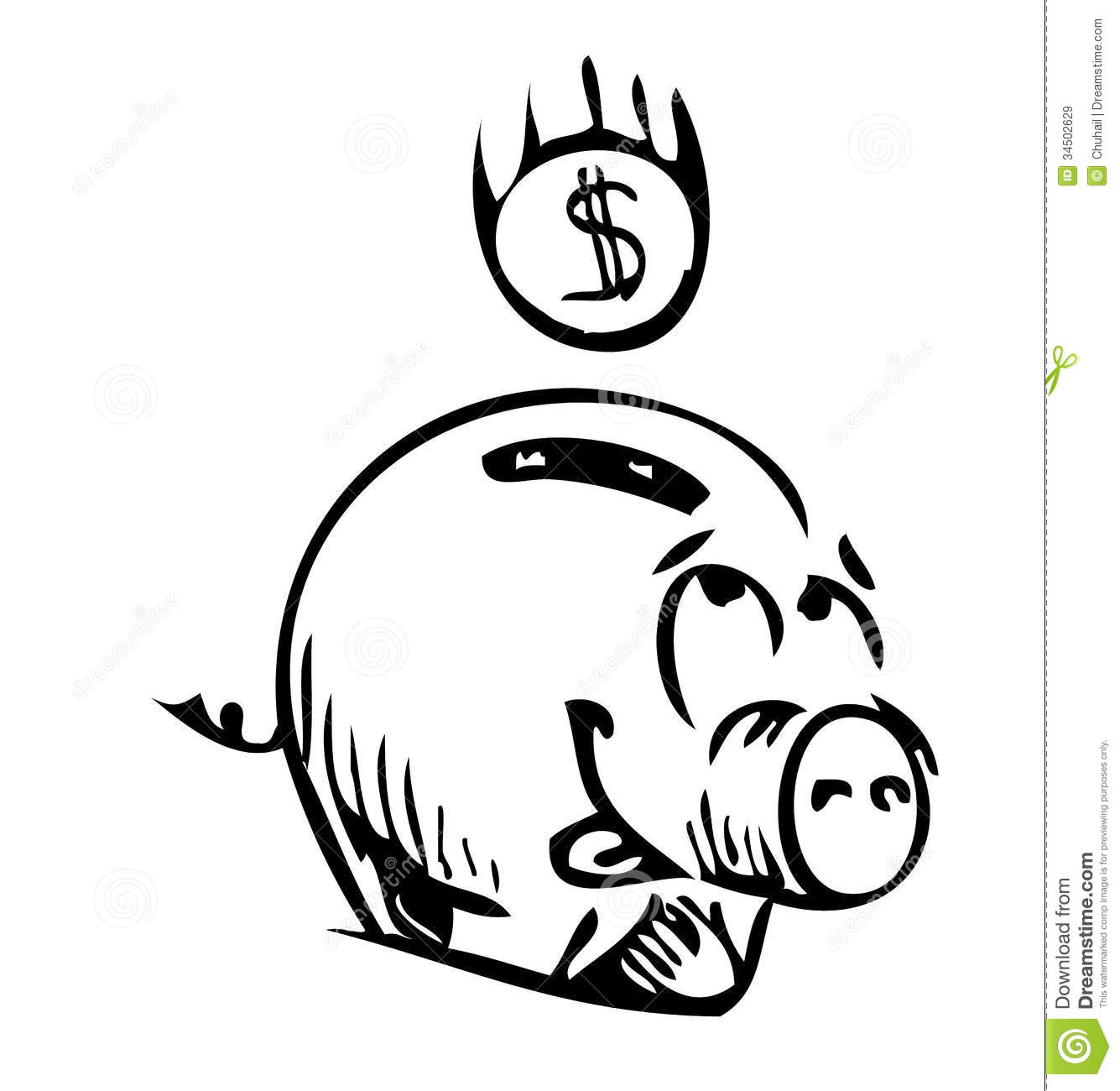 Money Pig Money Box Sketch Icon Royalty Free Stock Images