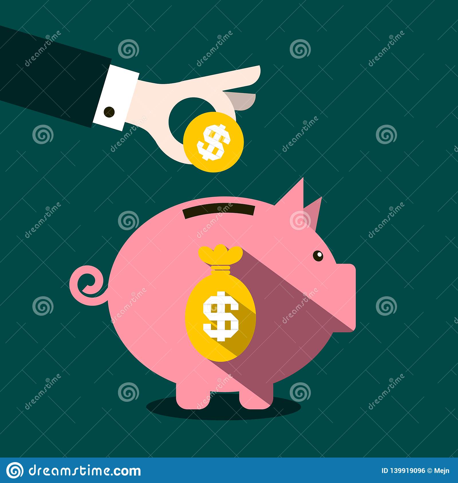 Money Pig Design with Coin in Hand