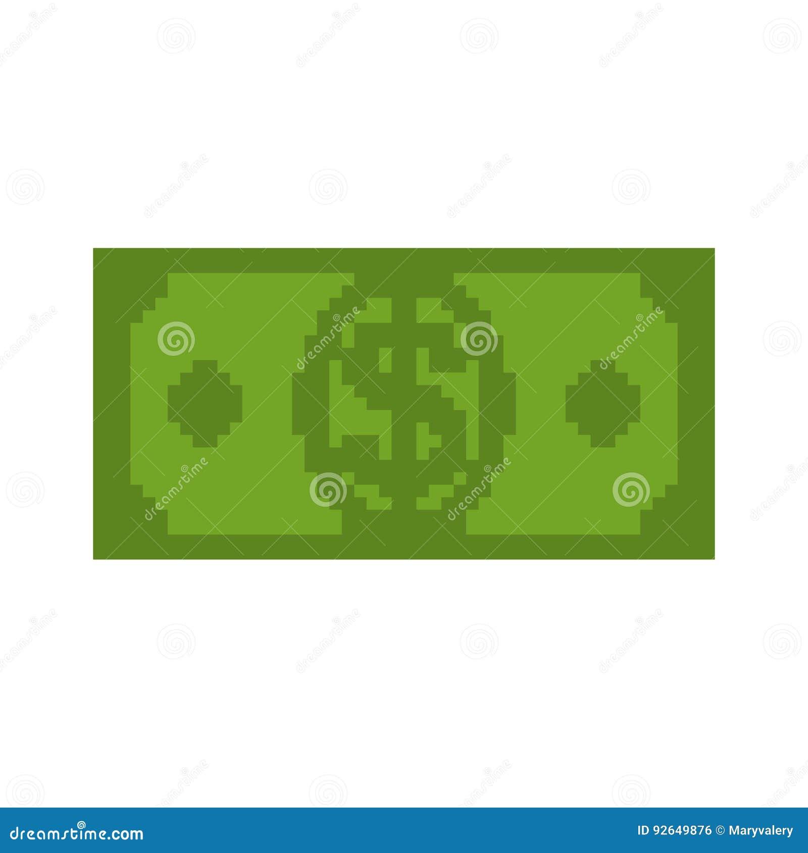 Money Pixel Art. Cash Is Pixel. Dollar 8 Bits Stock Vector