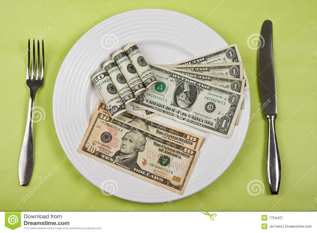 Money On Plate Royalty Free Stock Photography Image 7754427