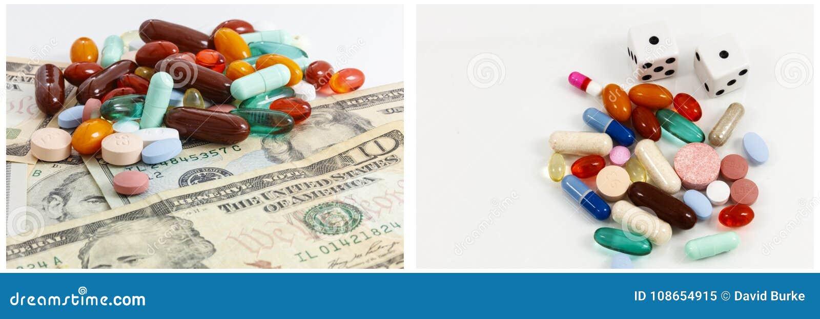 Money Prescription Drugs Gambling Collage Stock Image