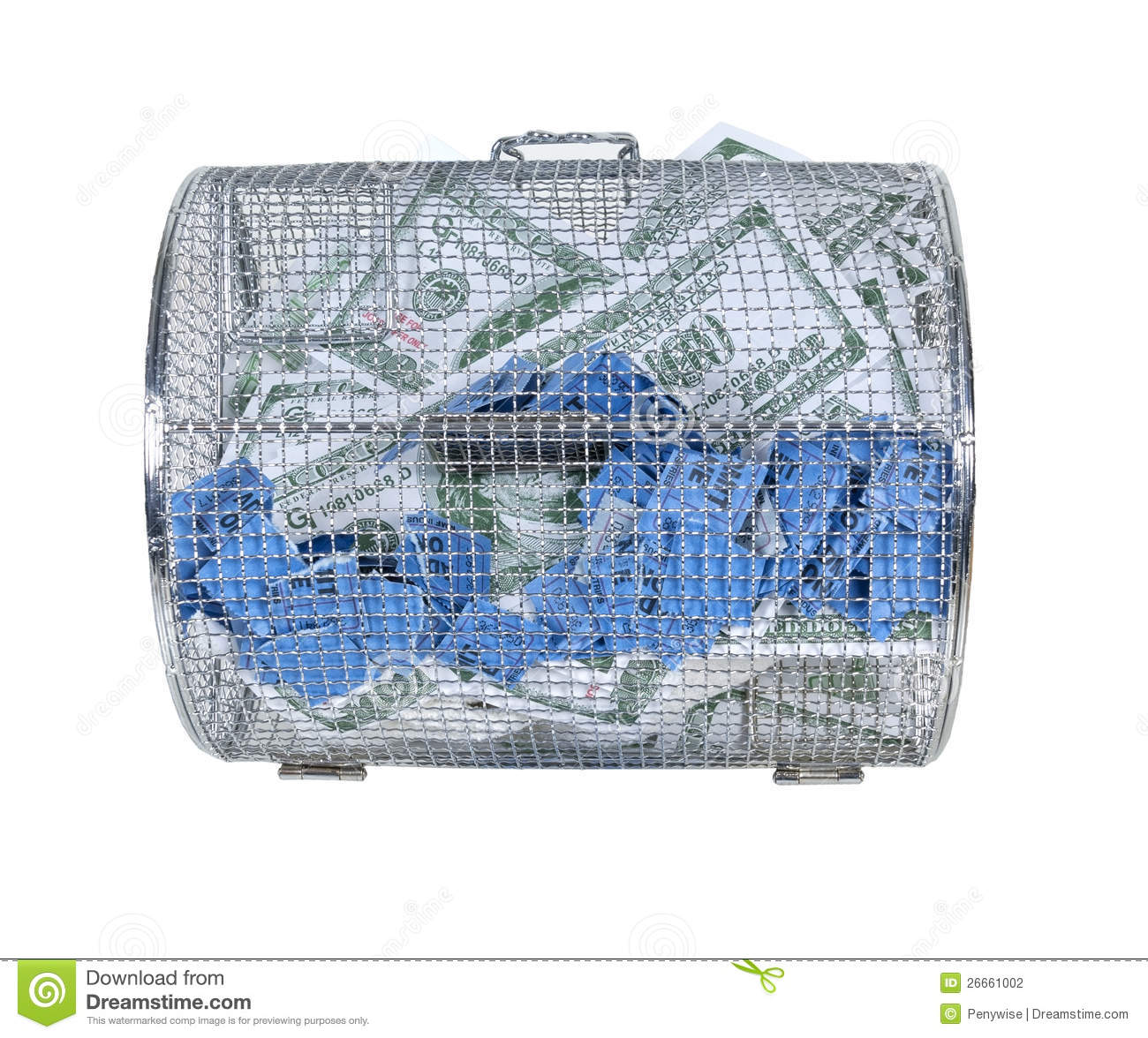 Money And Raffle Tickets In Spinner Cage Stock Photography