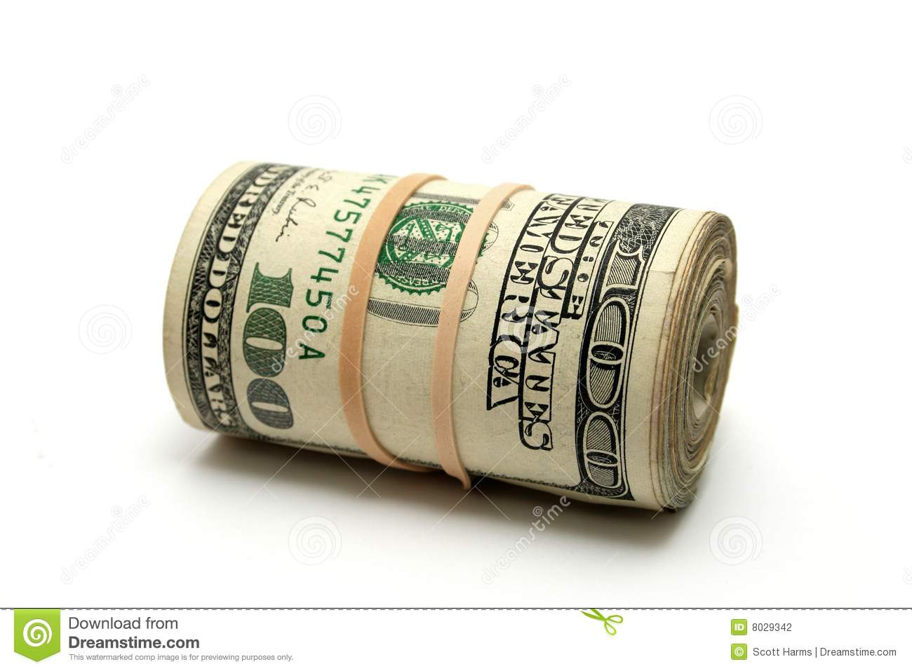 roll of hundred dollar bills isolated with a white background.