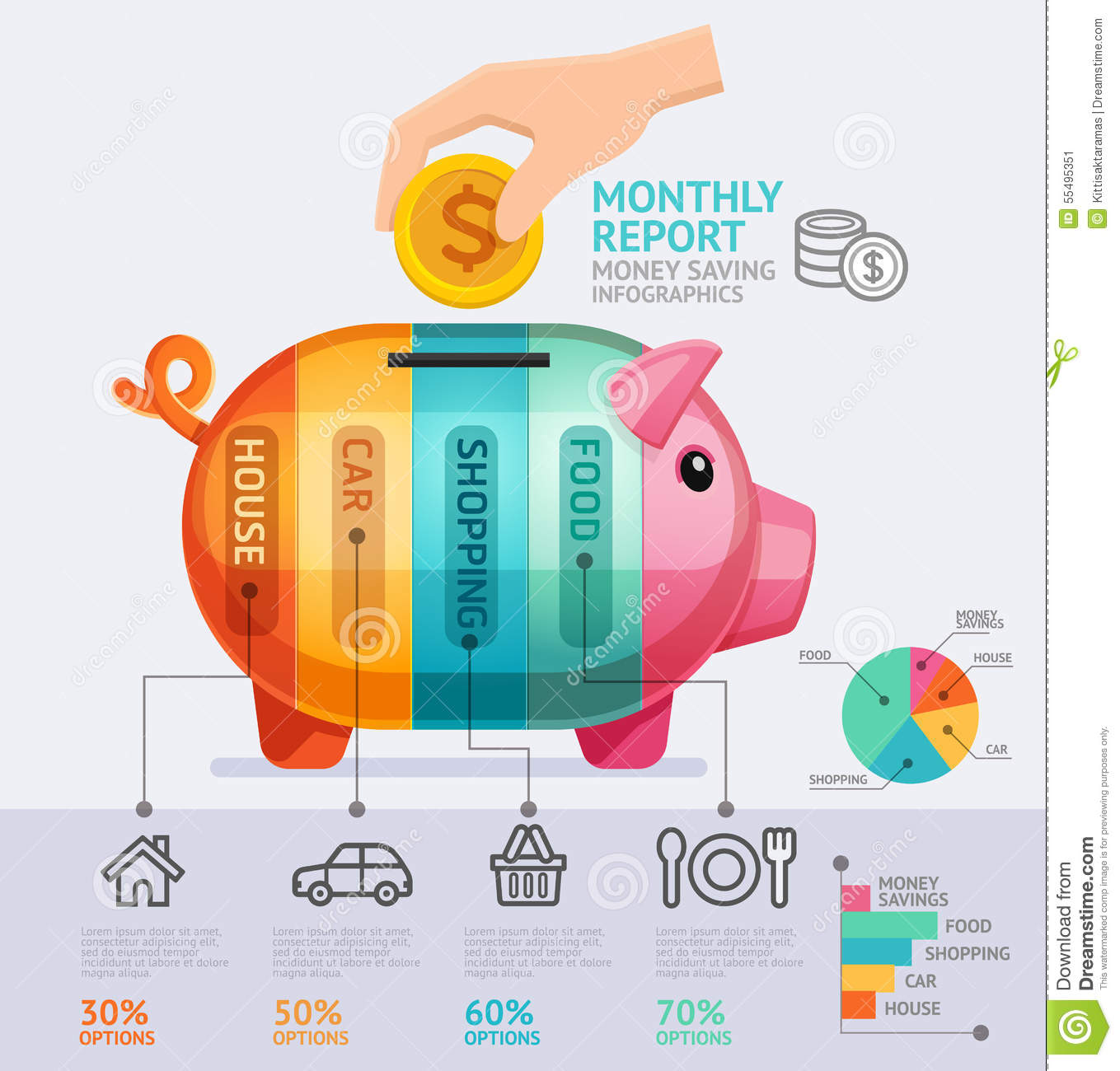 Money Saving Monthly Report Infographics Template Stock