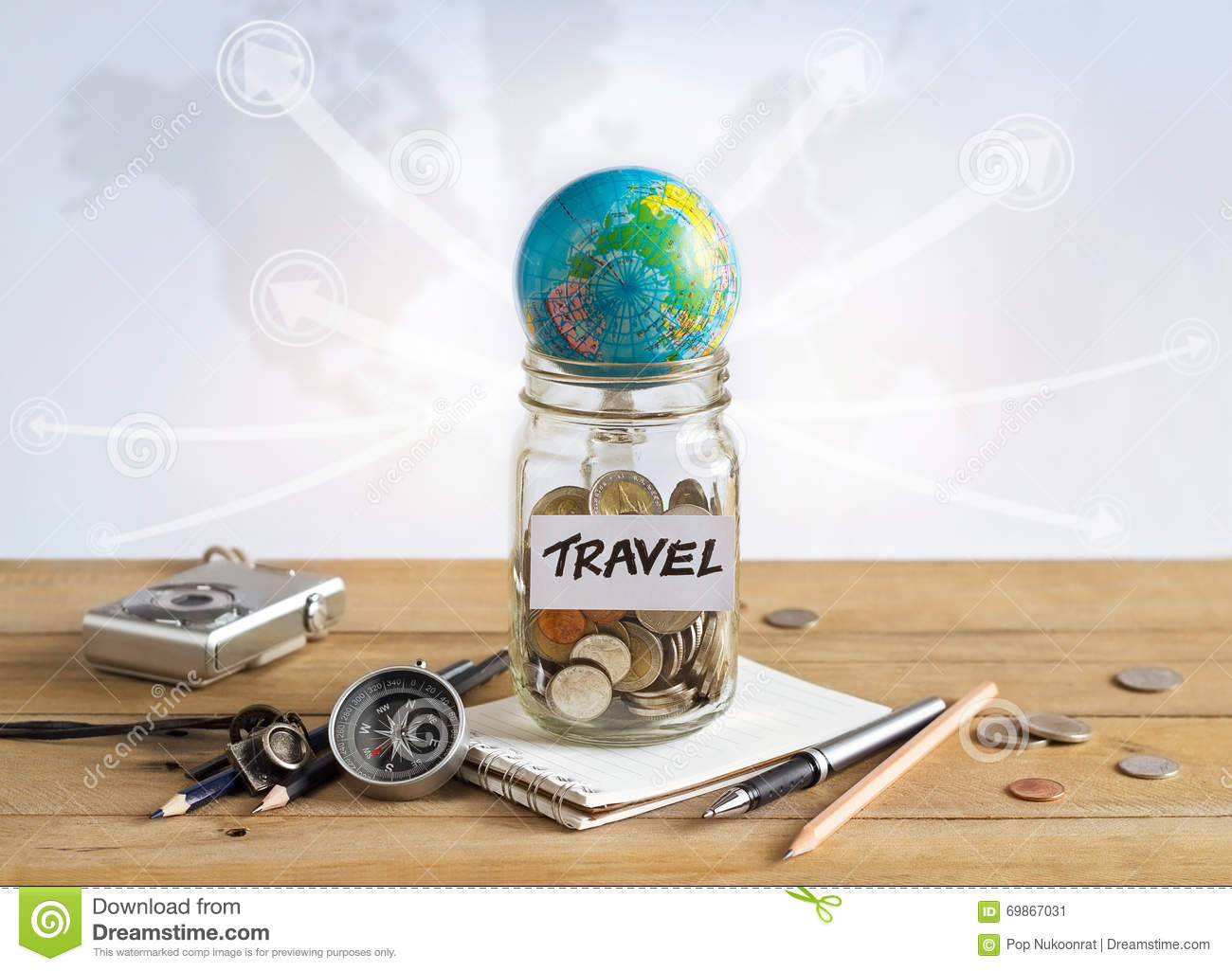 Money savings in a glass jar on world map background stock photo money savings in a glass jar on world map background gumiabroncs Images