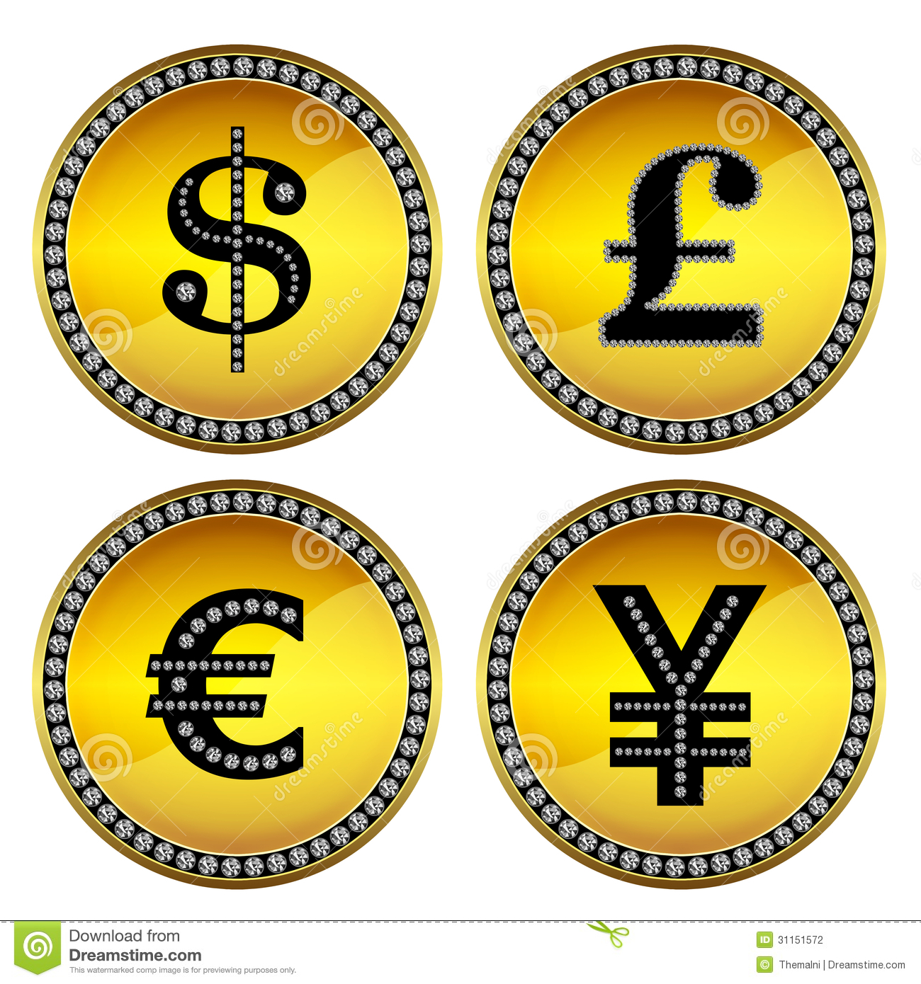 Set of four money symbols such as dollar, pound sterling, euro and yen ...