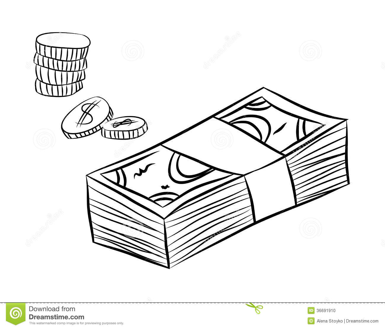 Line Drawing Money : Money sketch stock vector image of hand currency