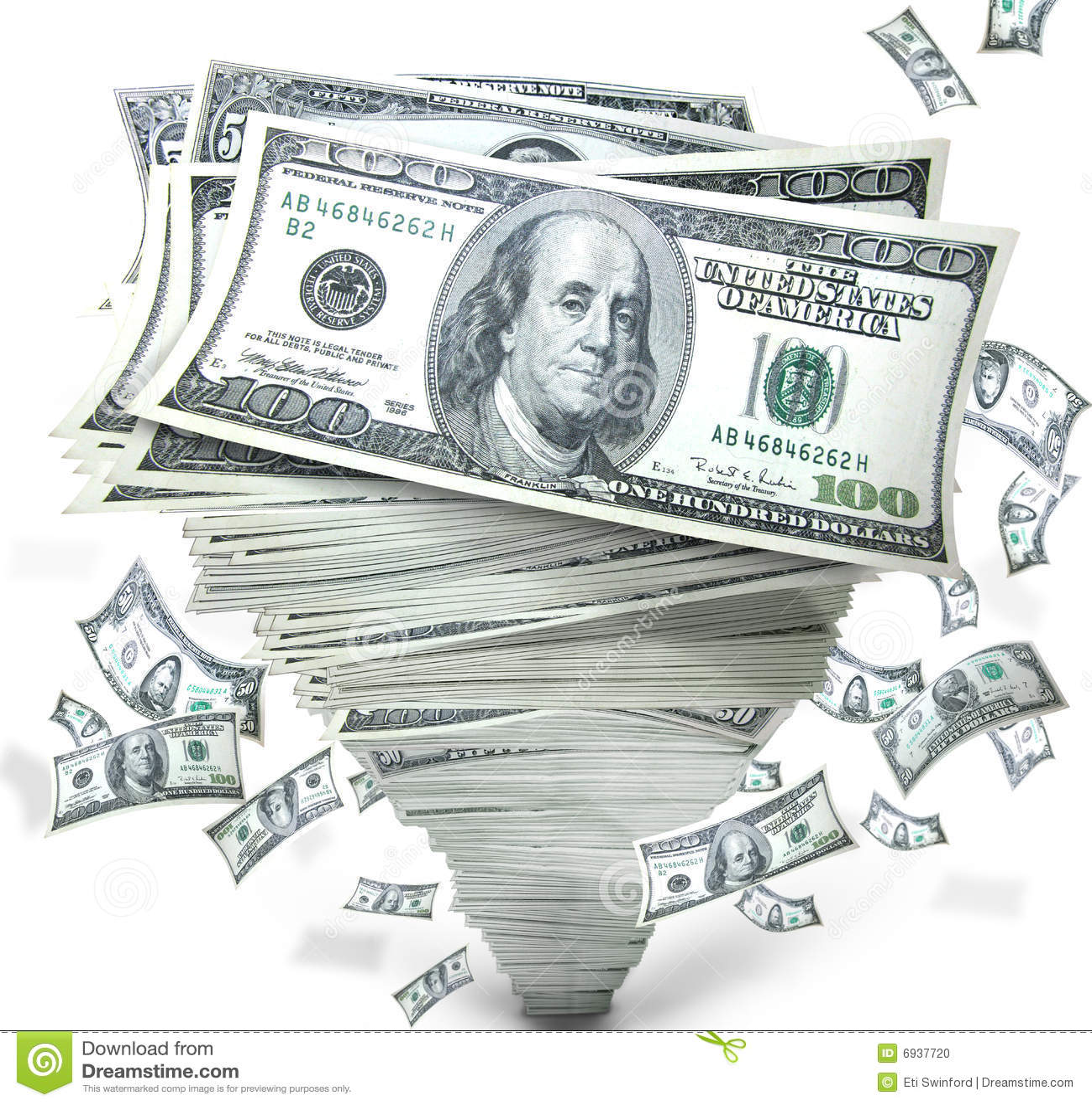 Money in stack of cash