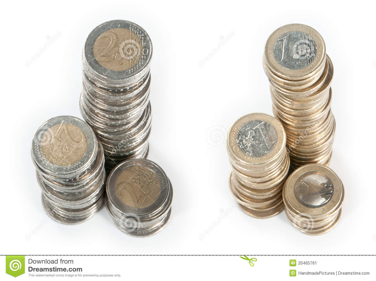 money stacks 1 euro and 2 euro stock image image 20465761. Black Bedroom Furniture Sets. Home Design Ideas