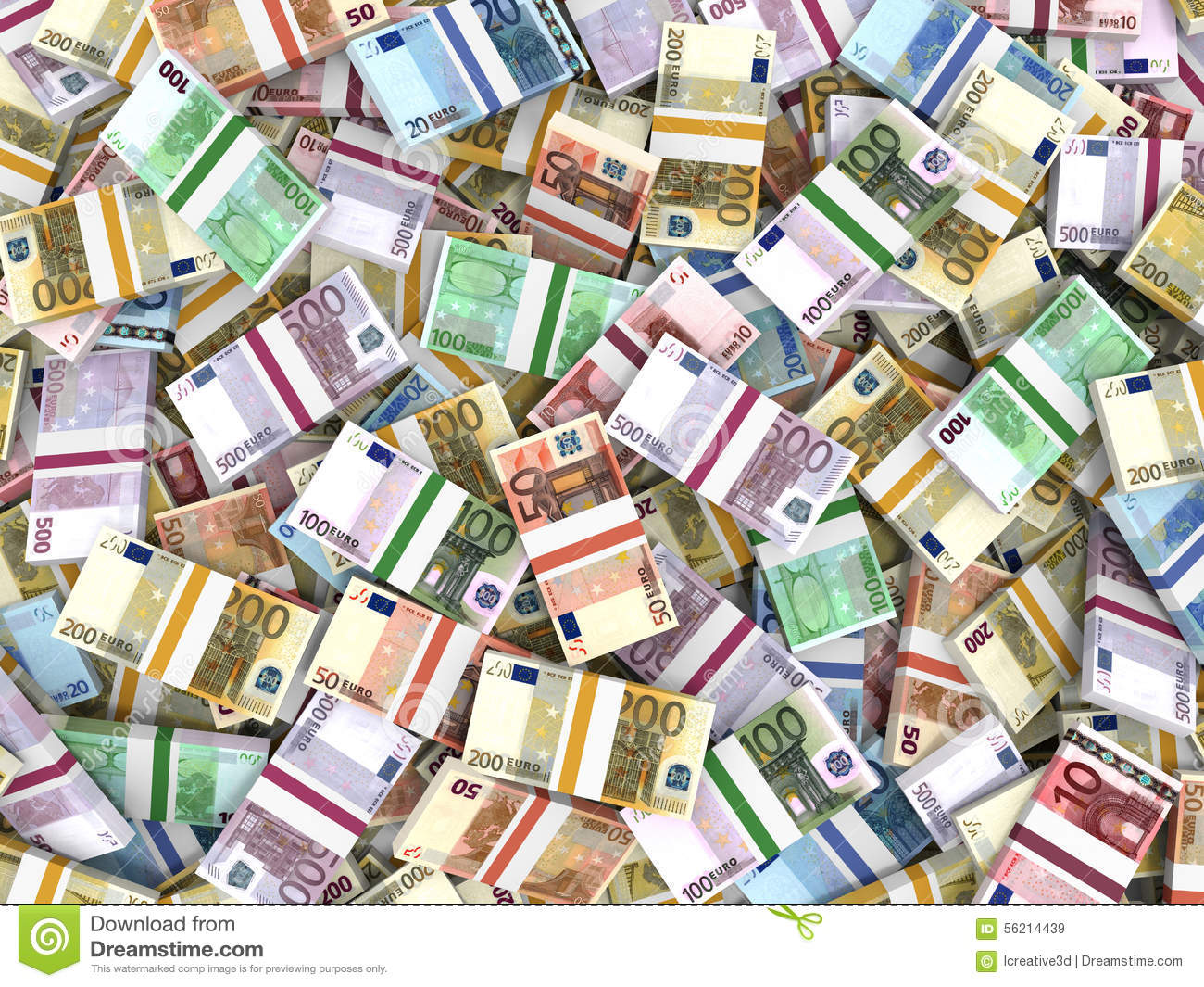 Money Stacks Of Euros. Stock Illustration - Image: 56214439
