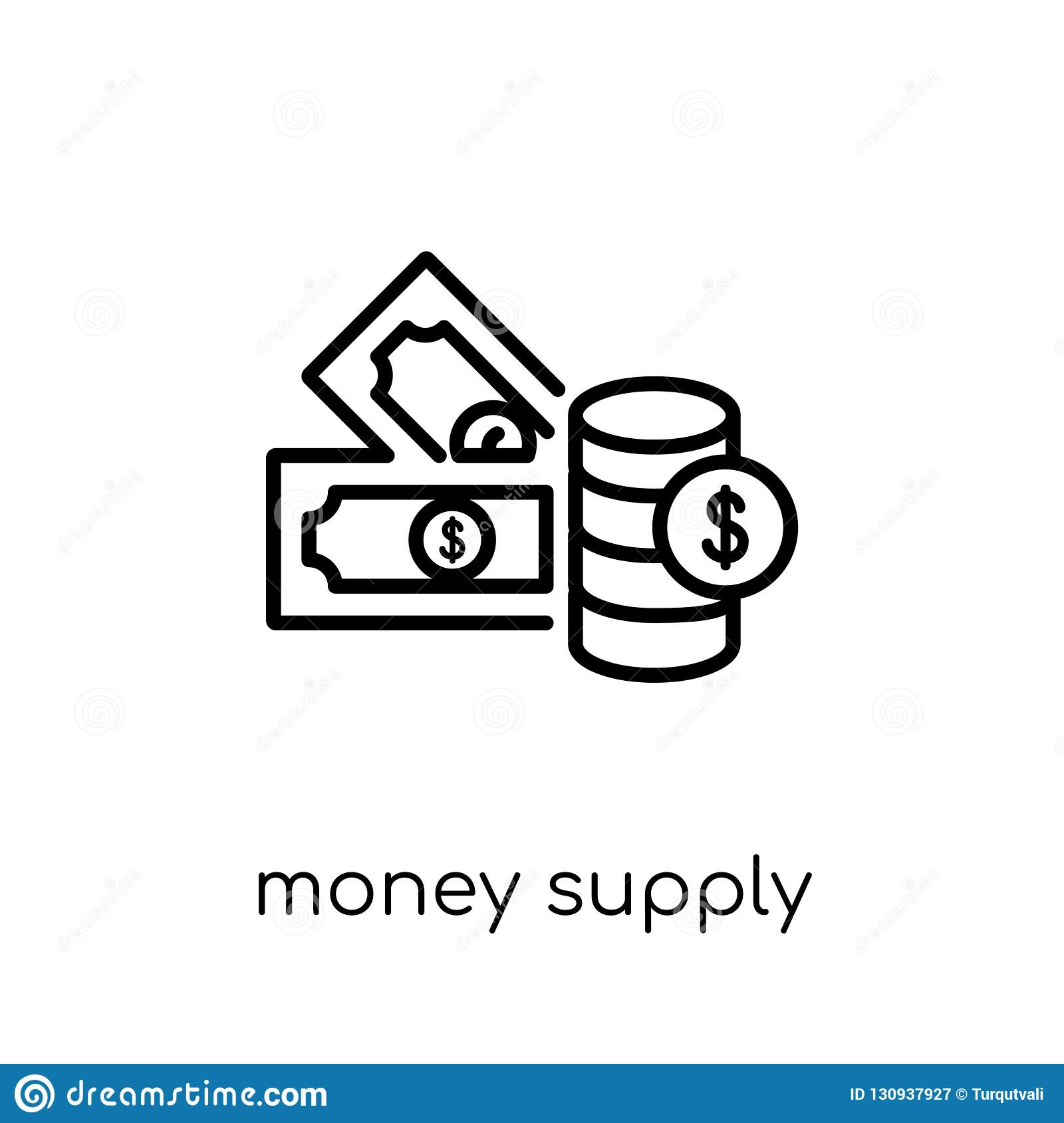 Money supply icon. Trendy modern flat linear vector Money supply