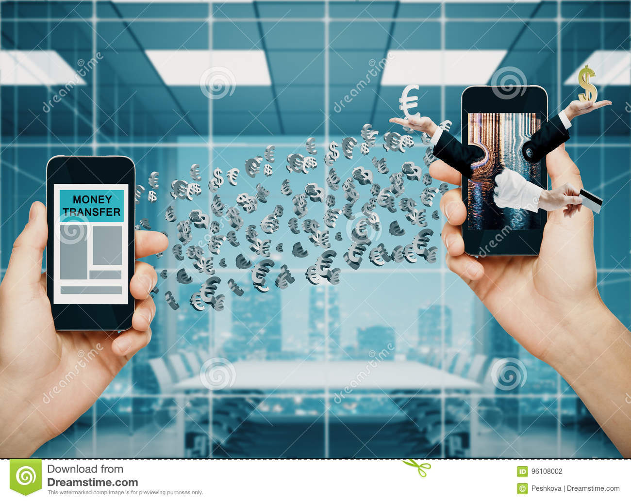Money Transfer Concept Stock Photo Image Of Gadgets 96108002