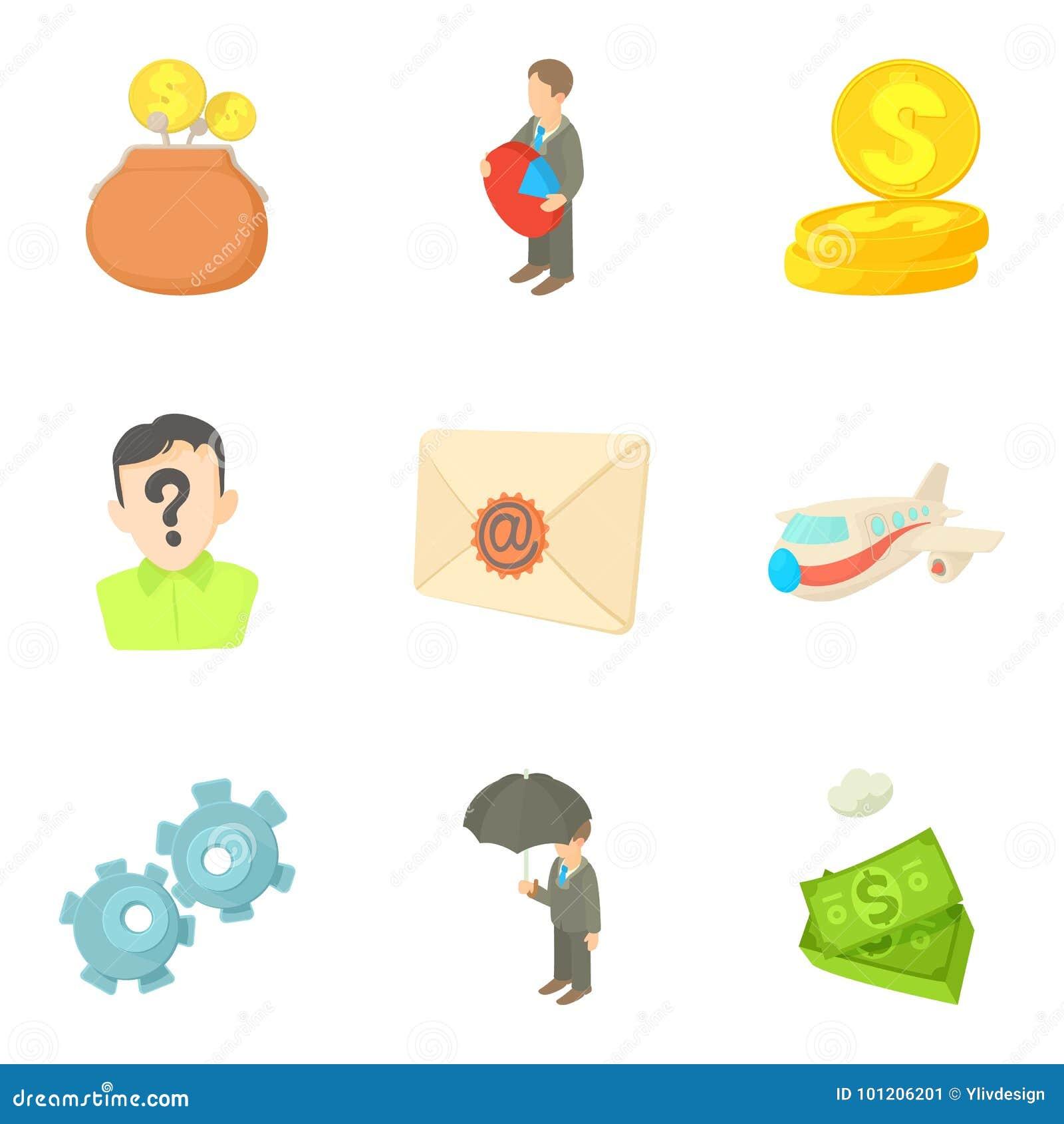 Money Transfer Icons Set, Cartoon Style Stock Vector