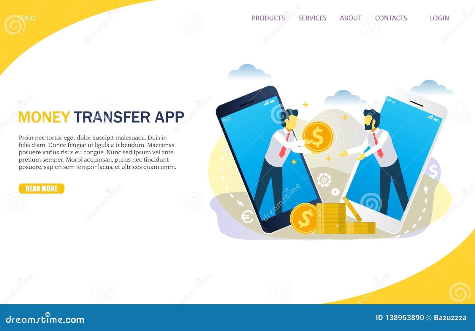 Money Transfer Vector Website Landing Page Design Template