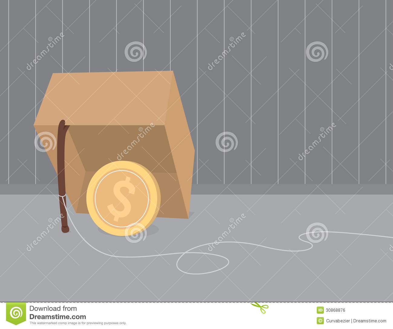 Money trap using coin as bait
