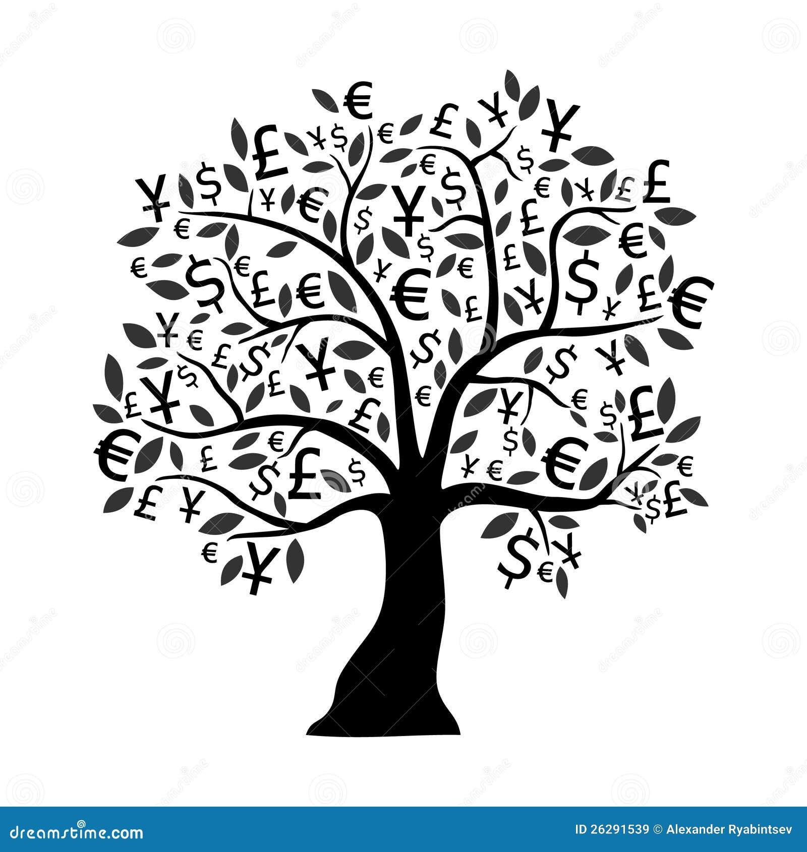 money tree stock illustration illustration of business Scroll Clip Art Fancy Scroll Clip Art