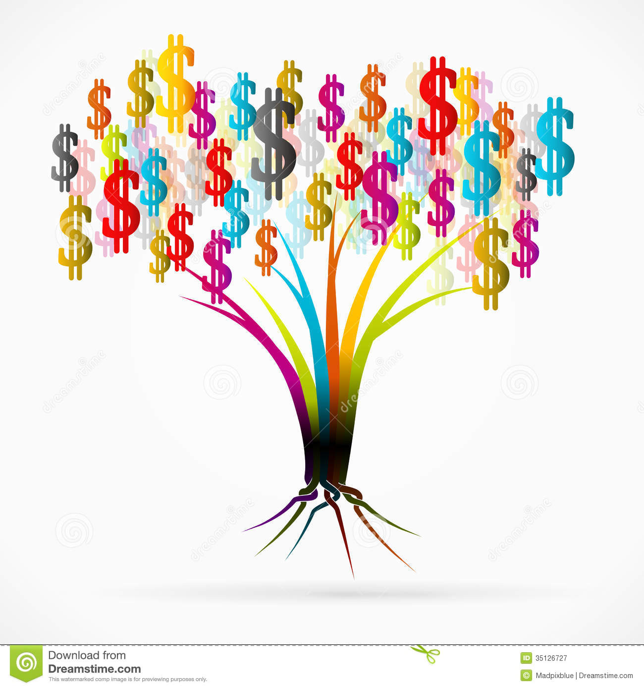 Vector Illustration Tree: Money Tree Stock Vector. Image Of Isolated, Background