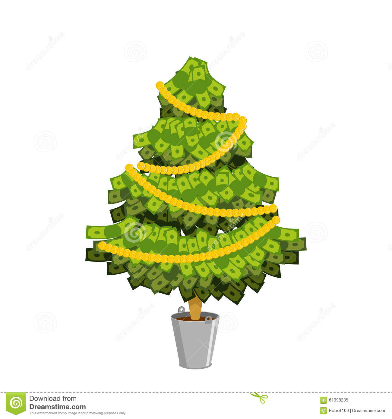 Finance Tree: Money Tree. Christmas Tree From Dollar. Leaves From